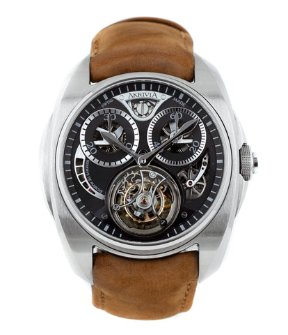buy AkriviA Tourbillon Chronographe Monopoussoir steel watch black dial at A Collected Man approved seller of independent manufacturers