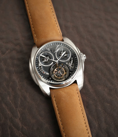 rare watch buy AkriviA Tourbillon Chronographe Monopoussoir steel watch black dial at A Collected Man approved seller of independent manufacturers