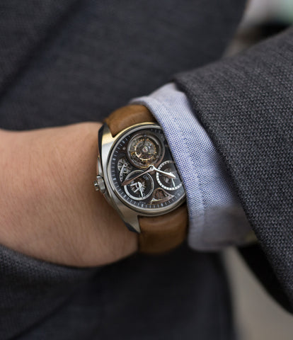 on the wrist buy AkriviA Tourbillon Chronographe Monopoussoir steel watch black dial at A Collected Man approved seller of independent manufacturers