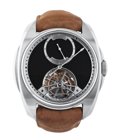 buy AkriviA Tourbillon Regulateur steel watch black dial by independent manufacture at A Collected Man