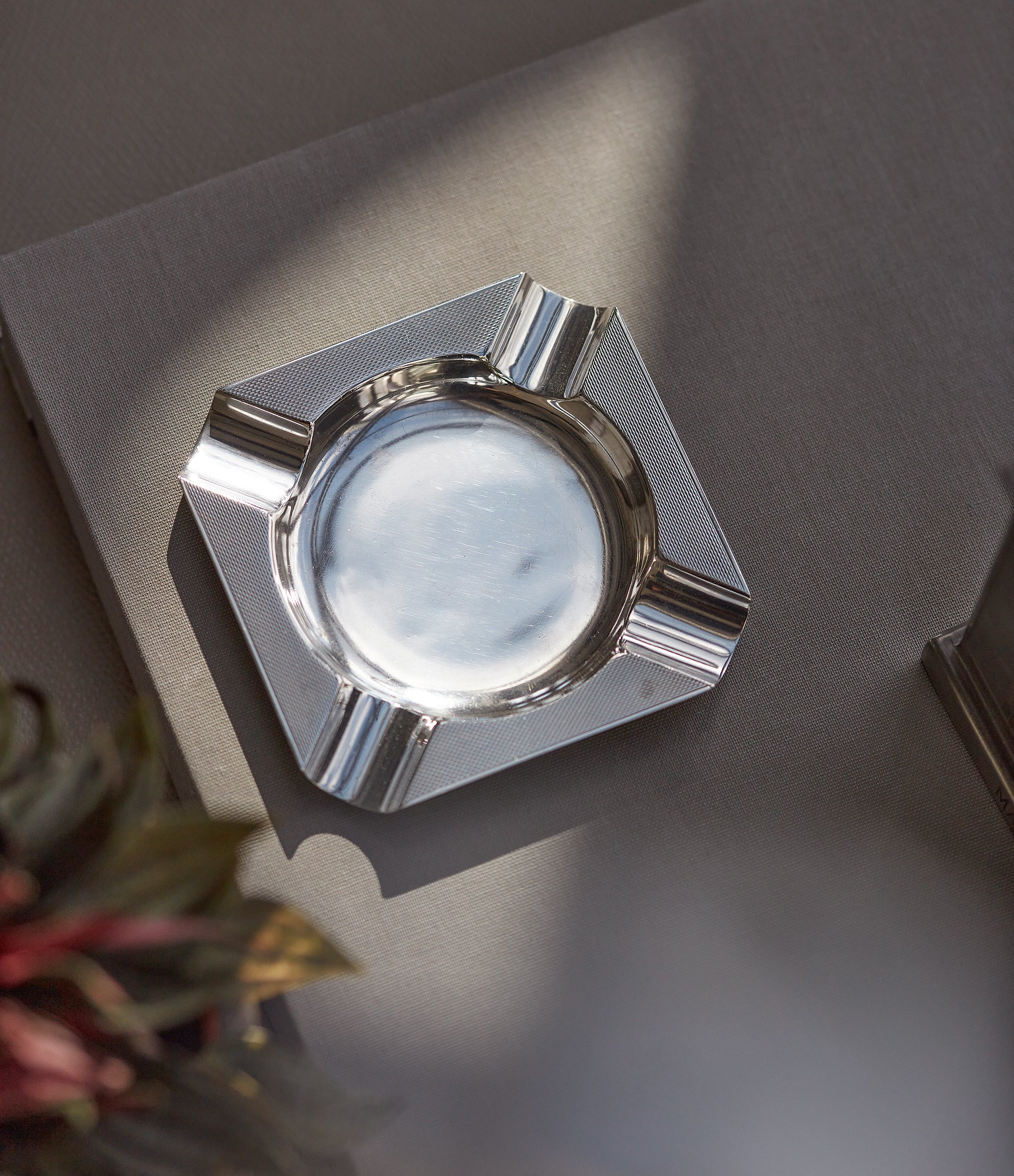Asprey-signed silver ashtray from 1960s with engine-turned pattern for sale online A Collected Man London UK specialist of rare collectable objects