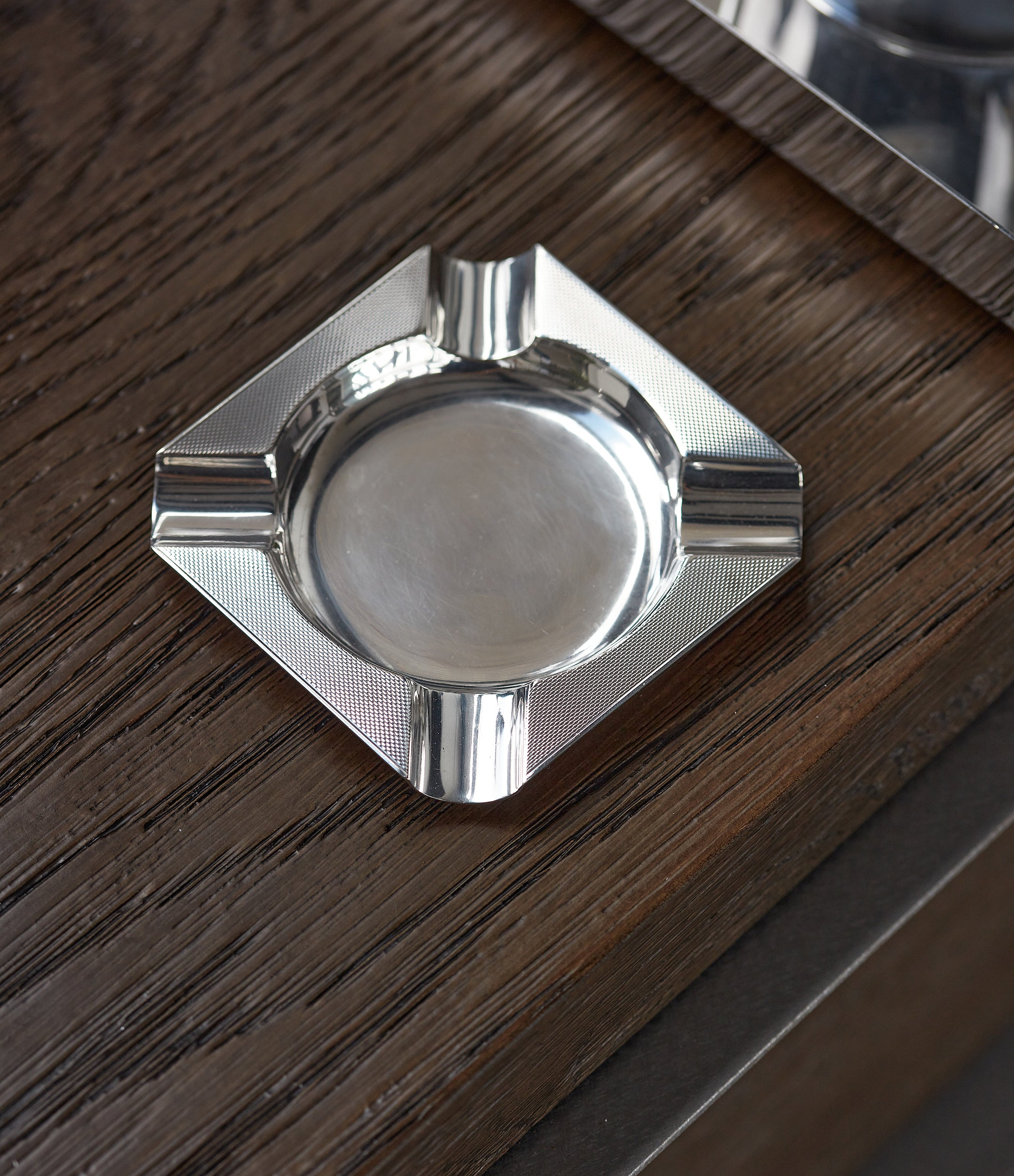 selling Asprey-signed silver ashtray from 1960s with engine-turned pattern for sale online A Collected Man London UK specialist of rare collectable objects
