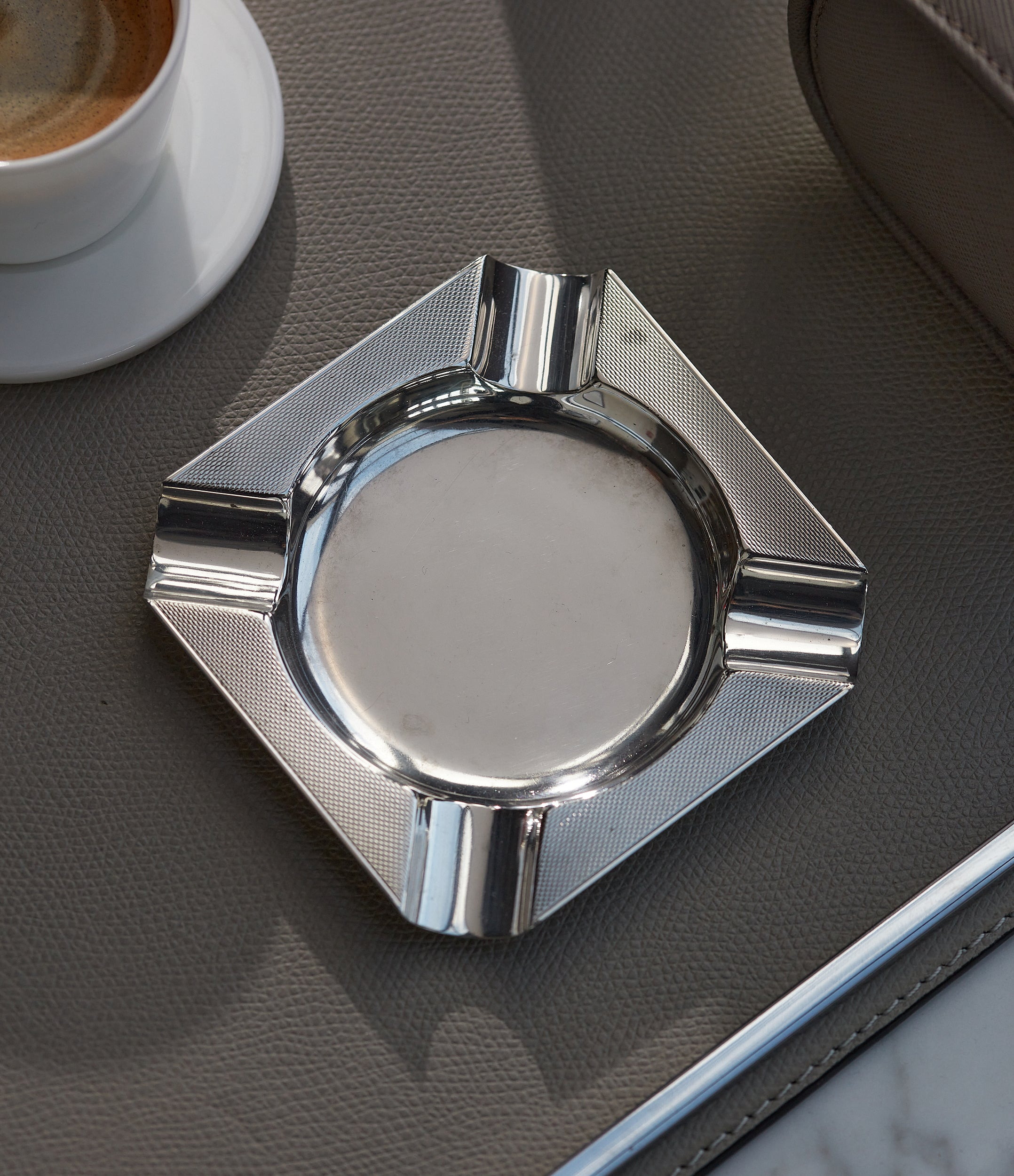 for sale Asprey-signed silver ashtray from 1960s with engine-turned pattern for sale online A Collected Man London UK specialist of rare collectable objects