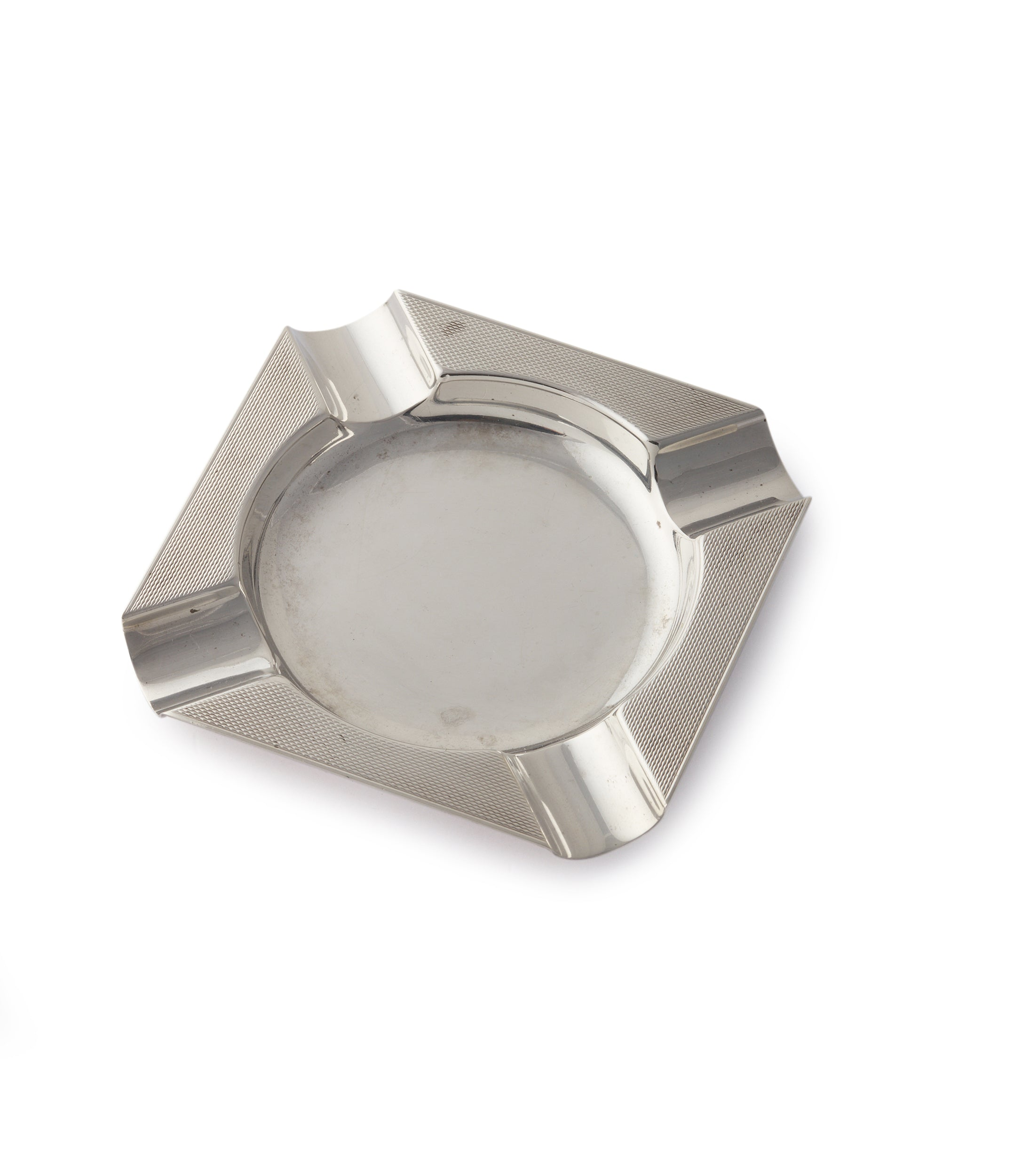 buy Asprey-signed silver ashtray from 1960s with engine-turned pattern for sale online A Collected Man London UK specialist of rare collectable objects