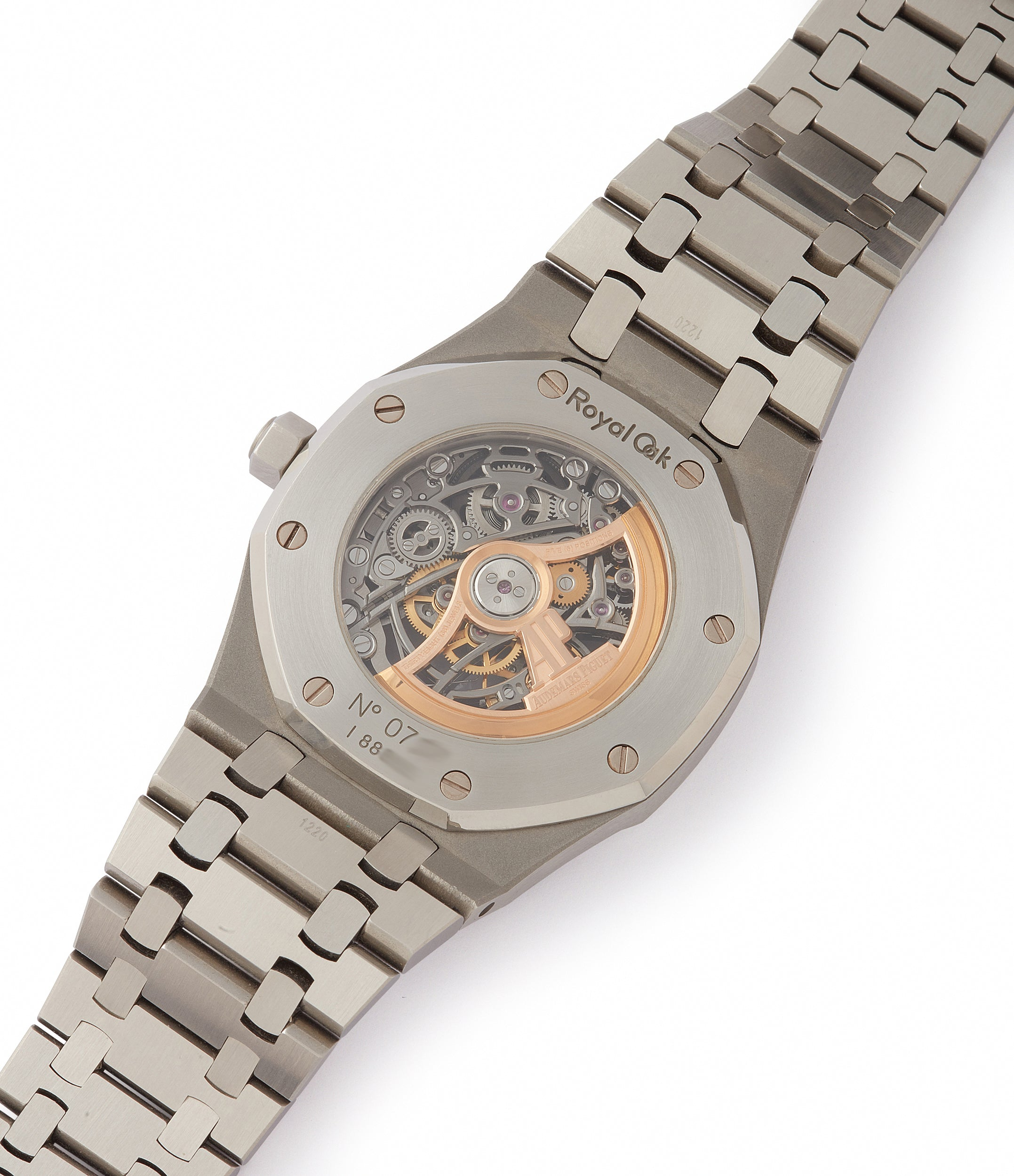 AP3129 automatic Audemars Piguet Royal Oak skeletonised 15305ST steel watch for sale online at A Collected Man London UK specialist of rare watches