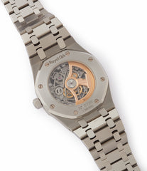 AP 3129 calibre Audemars Piguet Royal Oak skeletonised 15305ST steel watch for sale online at A Collected Man London UK specialist of rare watches