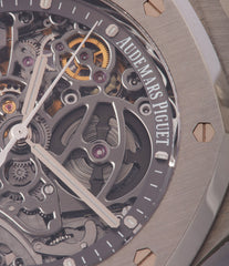 time-only Audemars Piguet Royal Oak skeletonised 15305ST steel watch for sale online at A Collected Man London UK specialist of rare watches