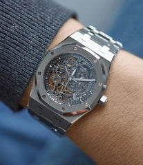 on the wrist Audemars Piguet Royal Oak skeletonised 15305ST steel watch for sale online at A Collected Man London UK specialist of rare watches