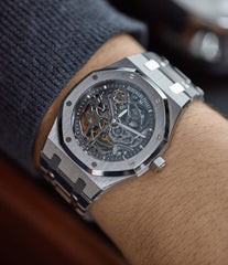 wristwatch Audemars Piguet Royal Oak skeletonised 15305ST steel watch for sale online at A Collected Man London UK specialist of rare watches