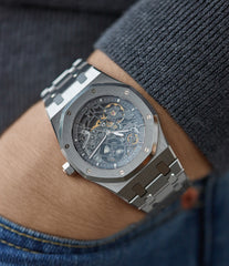 men's wristwatch Audemars Piguet Royal Oak skeletonised 15305ST steel watch for sale online at A Collected Man London UK specialist of rare watches