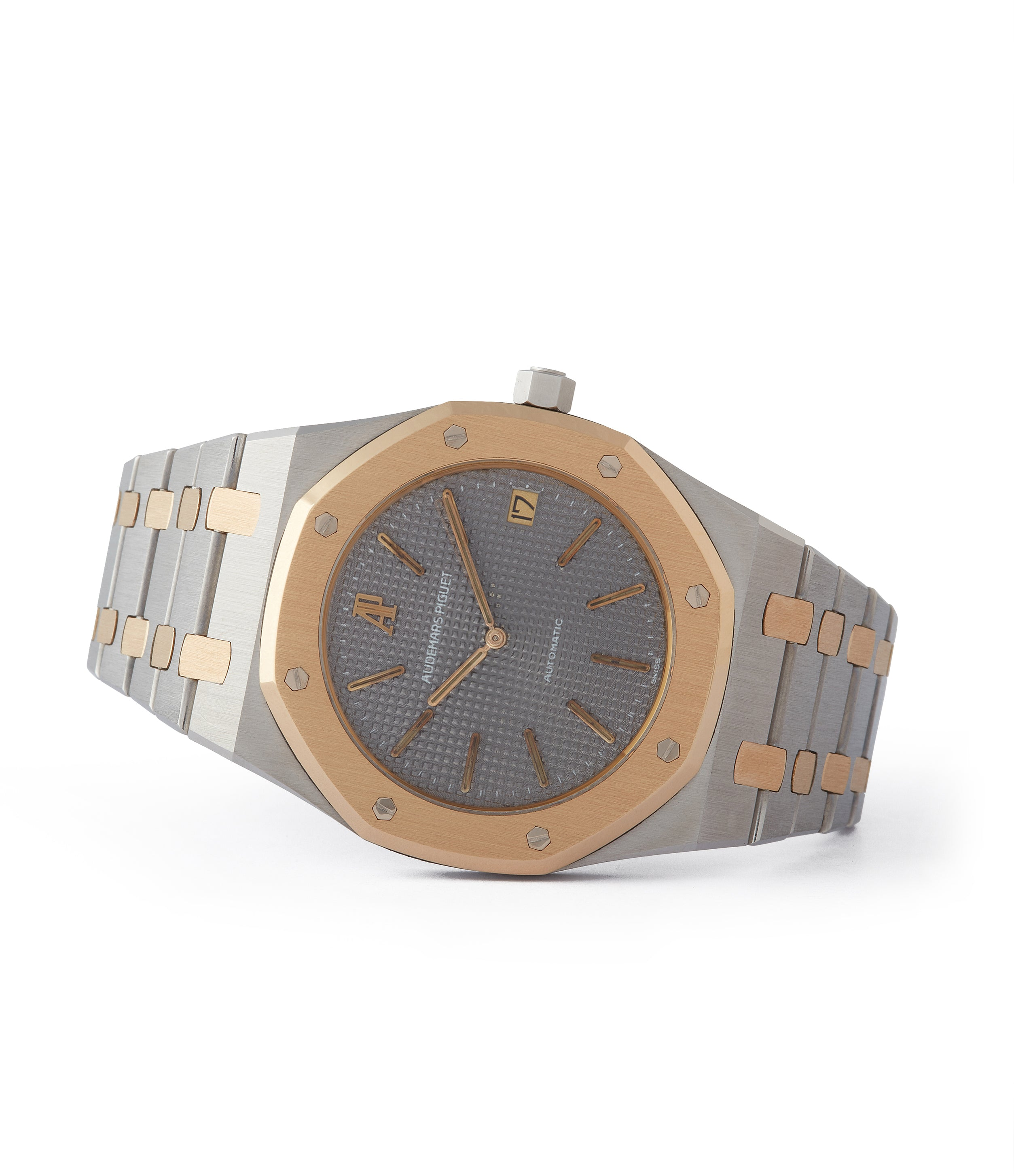 side-shot 5402SA Audemars Piguet Royal Oak steel gold bi-metal sports watch for sale online at A Collected Man London UK specialist of rare watches