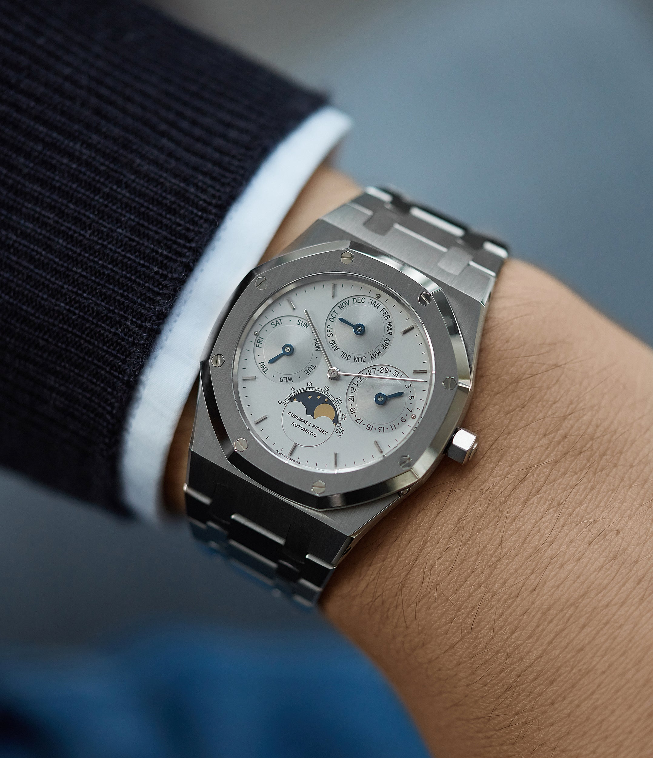 on the wrist Audemars Piguet Royal Oak Perpetual Calendar 25654ST steel vintage watch for sale online at A Collected Man London UK specialist of rare watches