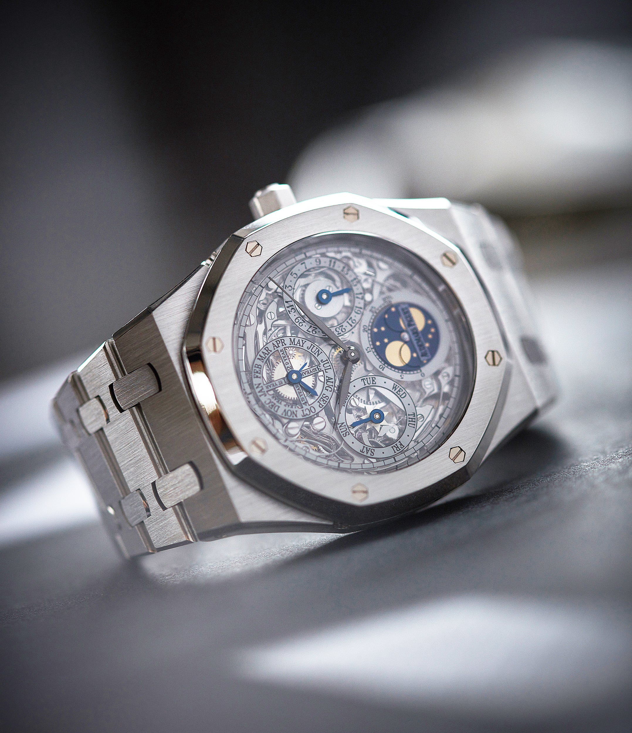 Audemars Piguet Royal Oak 25829PT perpetual calendar skeleton dial platinum full set pre-owned watch for sale online at A Collected Man London UK specialist of rare watches