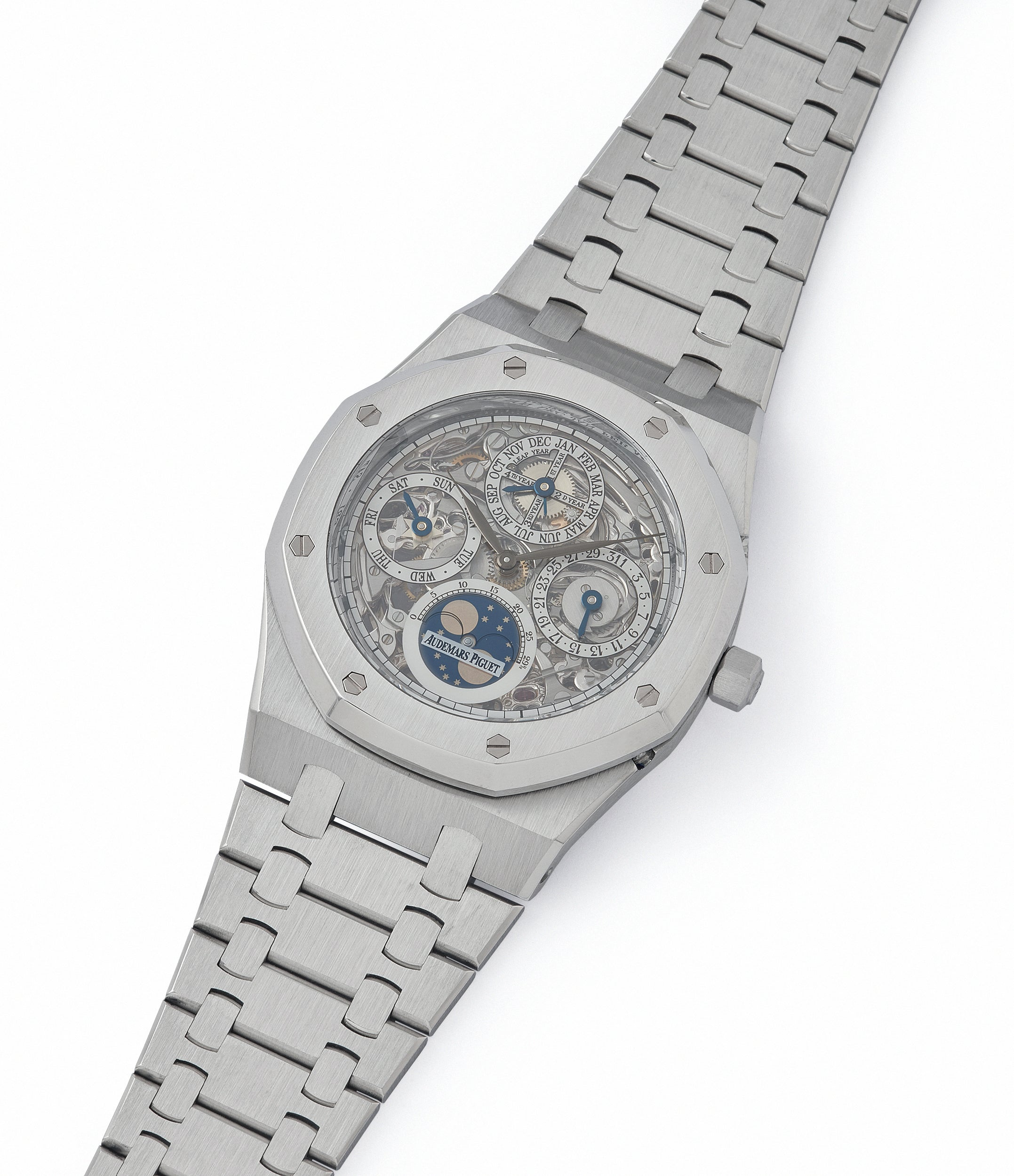 shop Audemars Piguet Royal Oak 25829PT perpetual calendar skeleton dial platinum full set pre-owned watch for sale online at A Collected Man London UK specialist of rare watches