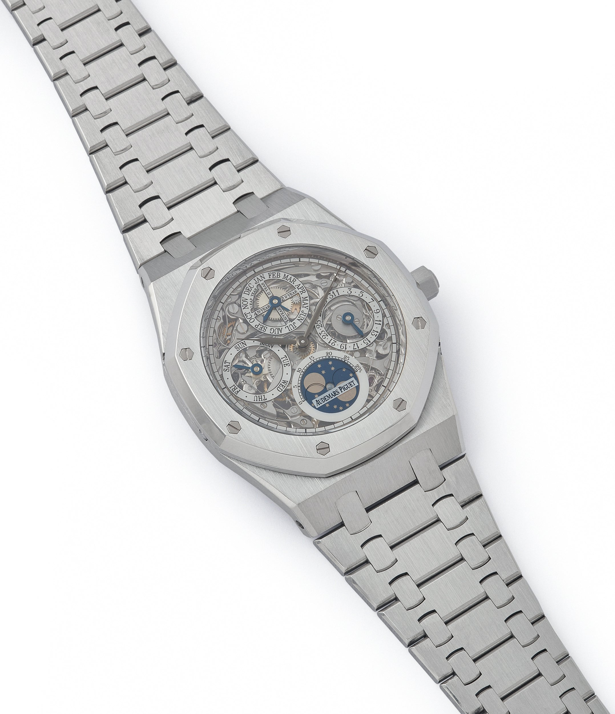 selling Audemars Piguet Royal Oak 25829PT perpetual calendar skeleton dial platinum full set pre-owned watch for sale online at A Collected Man London UK specialist of rare watches