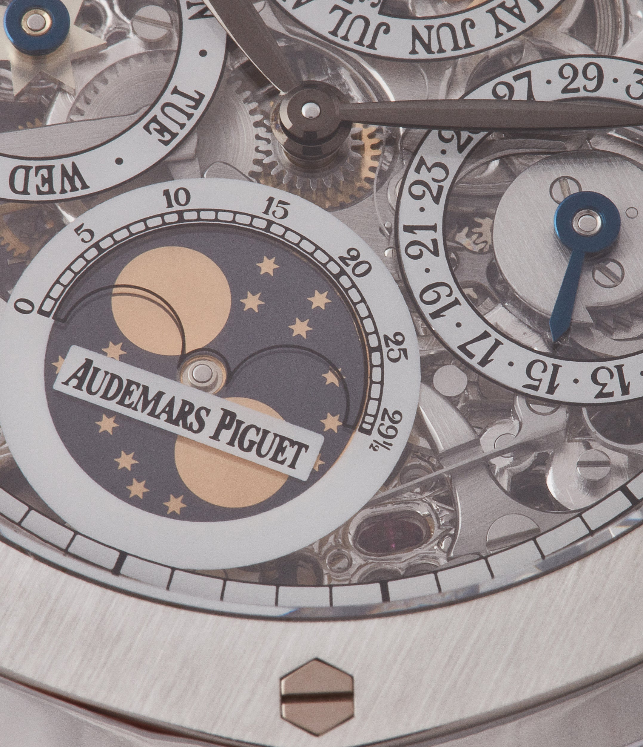 astronomical moon phase Audemars Piguet Royal Oak 25829PT perpetual calendar skeleton dial platinum full set pre-owned watch for sale online at A Collected Man London UK specialist of rare watches