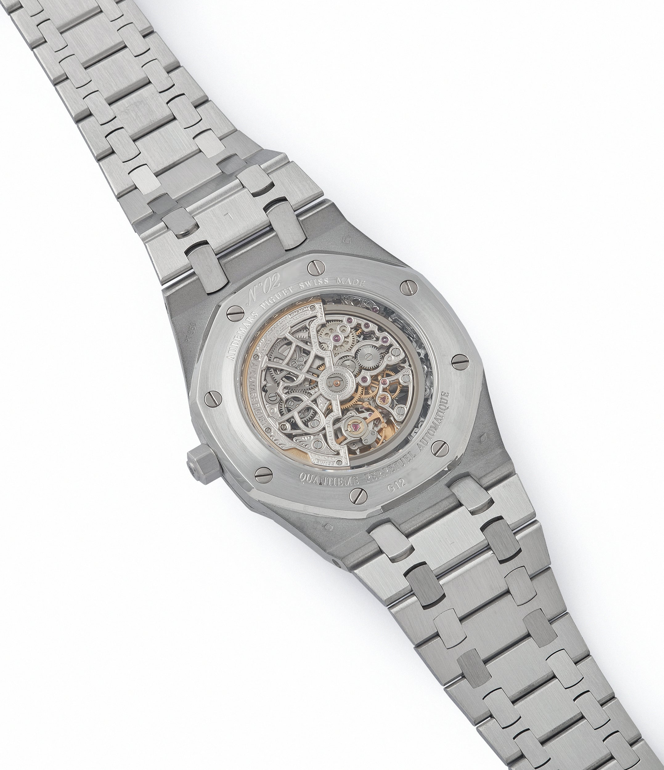 25829PT Audemars Piguet Royal Oak perpetual calendar skeleton dial platinum full set pre-owned watch for sale online at A Collected Man London UK specialist of rare watches