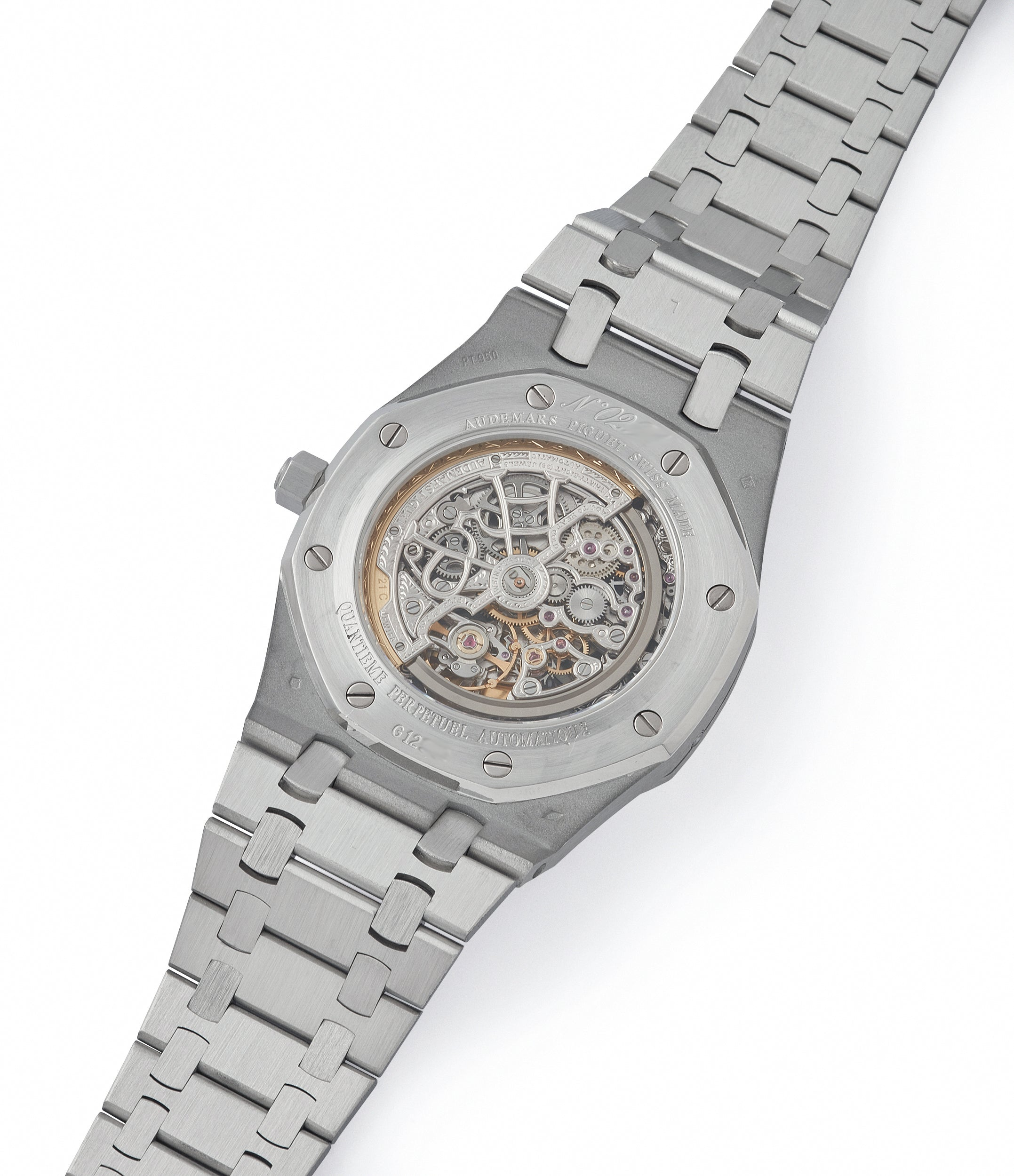 automatic Audemars Piguet Royal Oak perpetual calendar skeleton dial platinum full set pre-owned watch for sale online at A Collected Man London UK specialist of rare watches