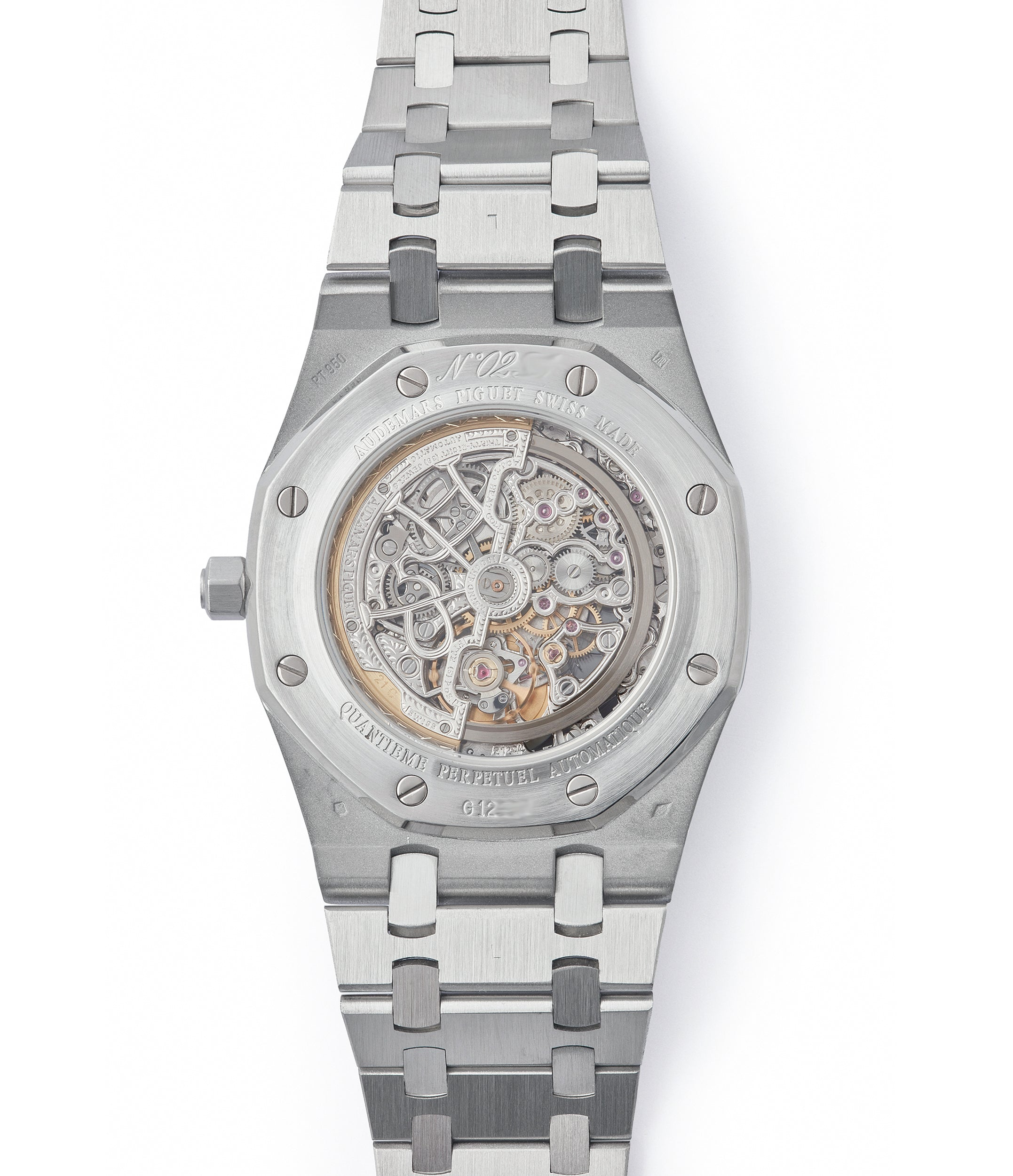 Audemars Piguet Quantieme Perpetual Royal Oak  25829PT perpetual calendar skeleton dial platinum full set pre-owned watch for sale online at A Collected Man London UK specialist of rare watches