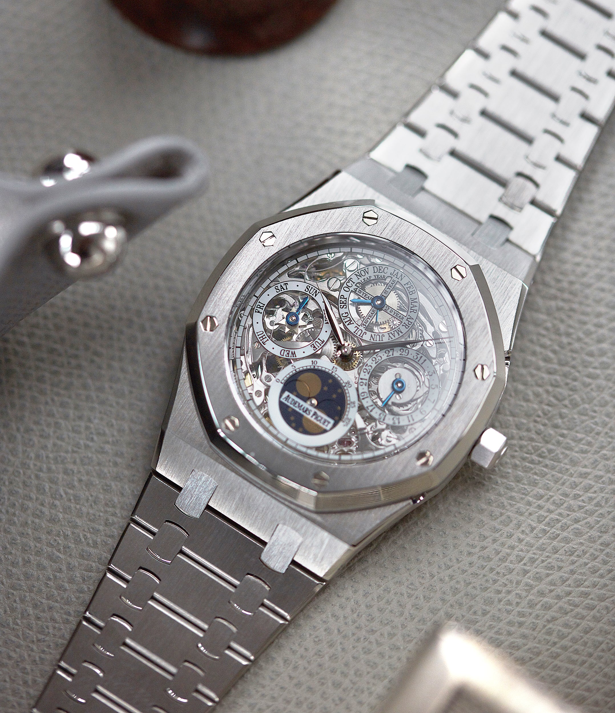 rare Audemars Piguet Royal Oak 25829PT perpetual calendar skeleton dial platinum full set pre-owned watch for sale online at A Collected Man London UK specialist of rare watches