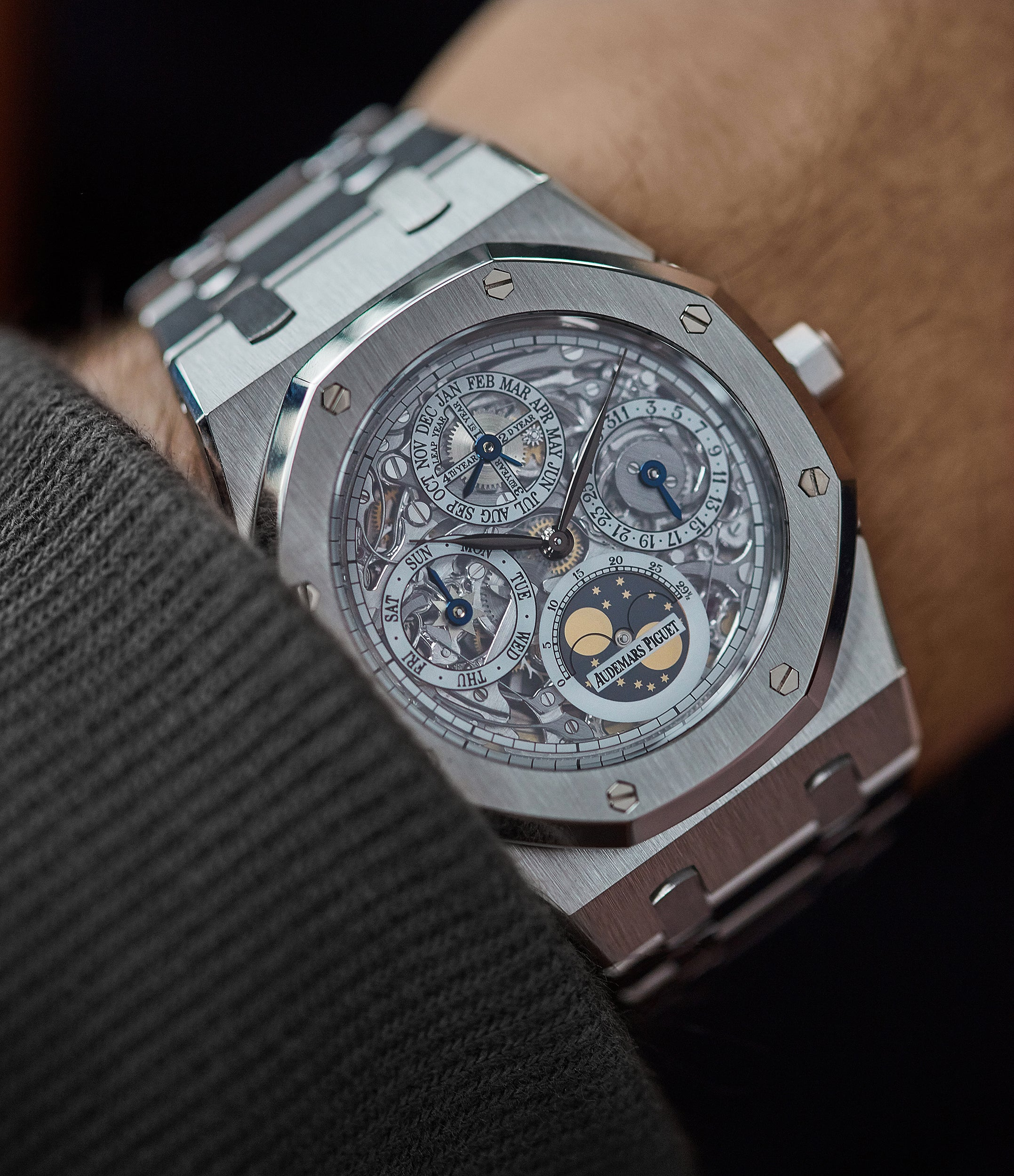 find Audemars Piguet Royal Oak 25829PT perpetual calendar skeleton dial platinum full set pre-owned watch for sale online at A Collected Man London UK specialist of rare watches