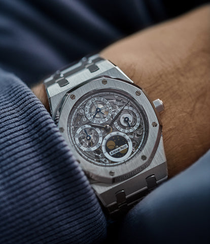 on the wrist Audemars Piguet Royal Oak 25829PT perpetual calendar skeleton dial platinum full set pre-owned watch for sale online at A Collected Man London UK specialist of rare watches