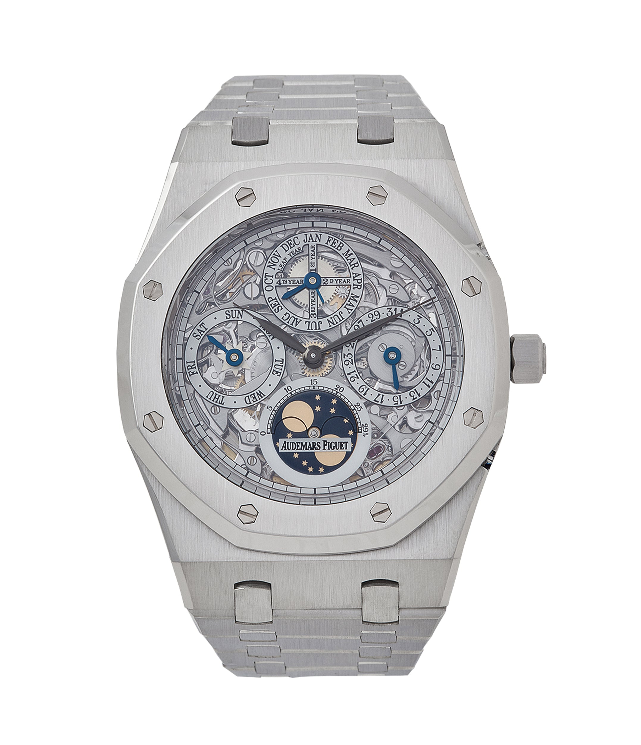 buy Audemars Piguet Royal Oak 25829PT perpetual calendar skeleton dial platinum full set pre-owned watch for sale online at A Collected Man London UK specialist of rare watches