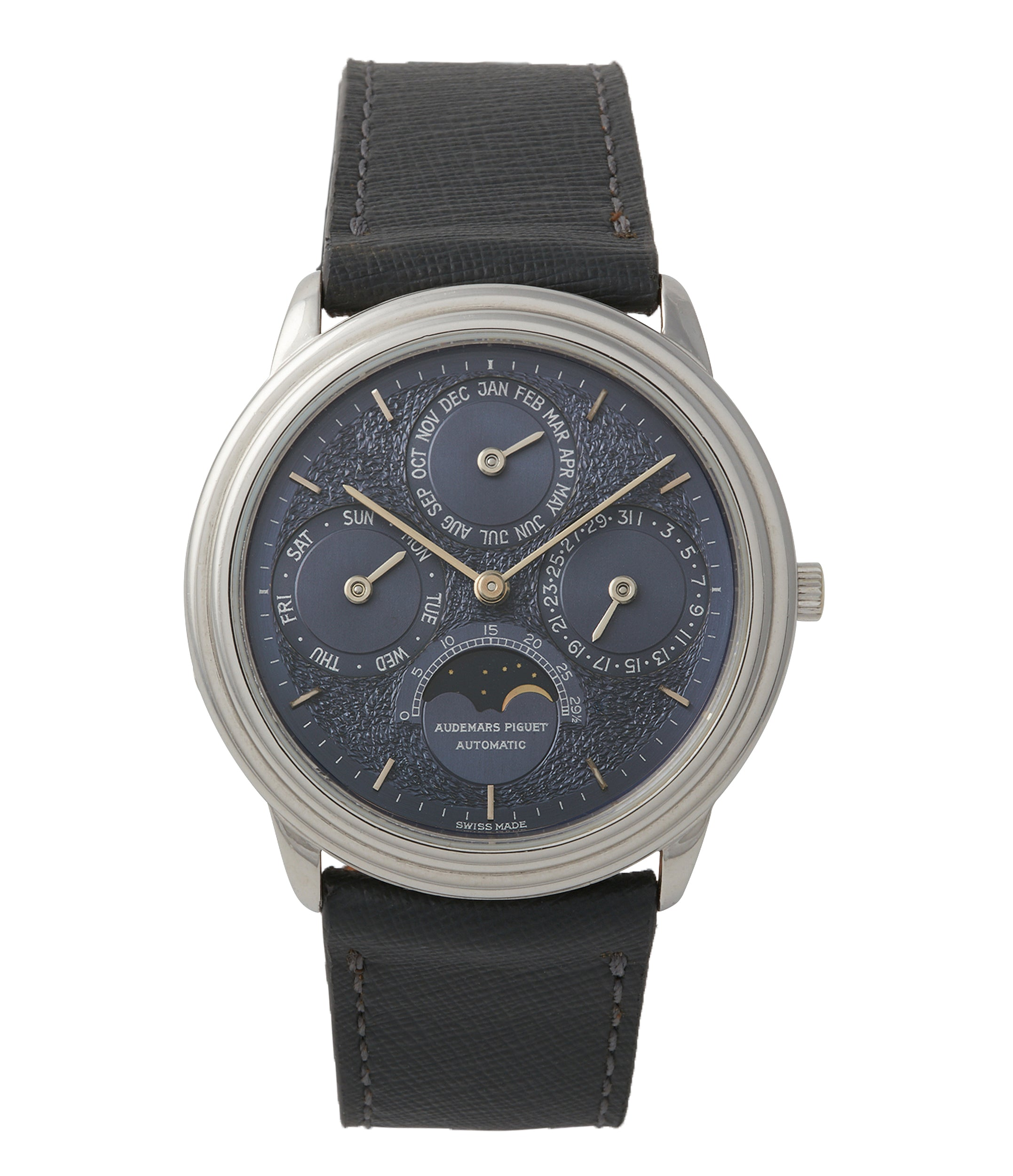 buy Audemars Piguet Quantieme Perpetual Calendar 2120/2 blue dial vintage dress watch for sale online at A Collected Man London UK specialist of rare watches