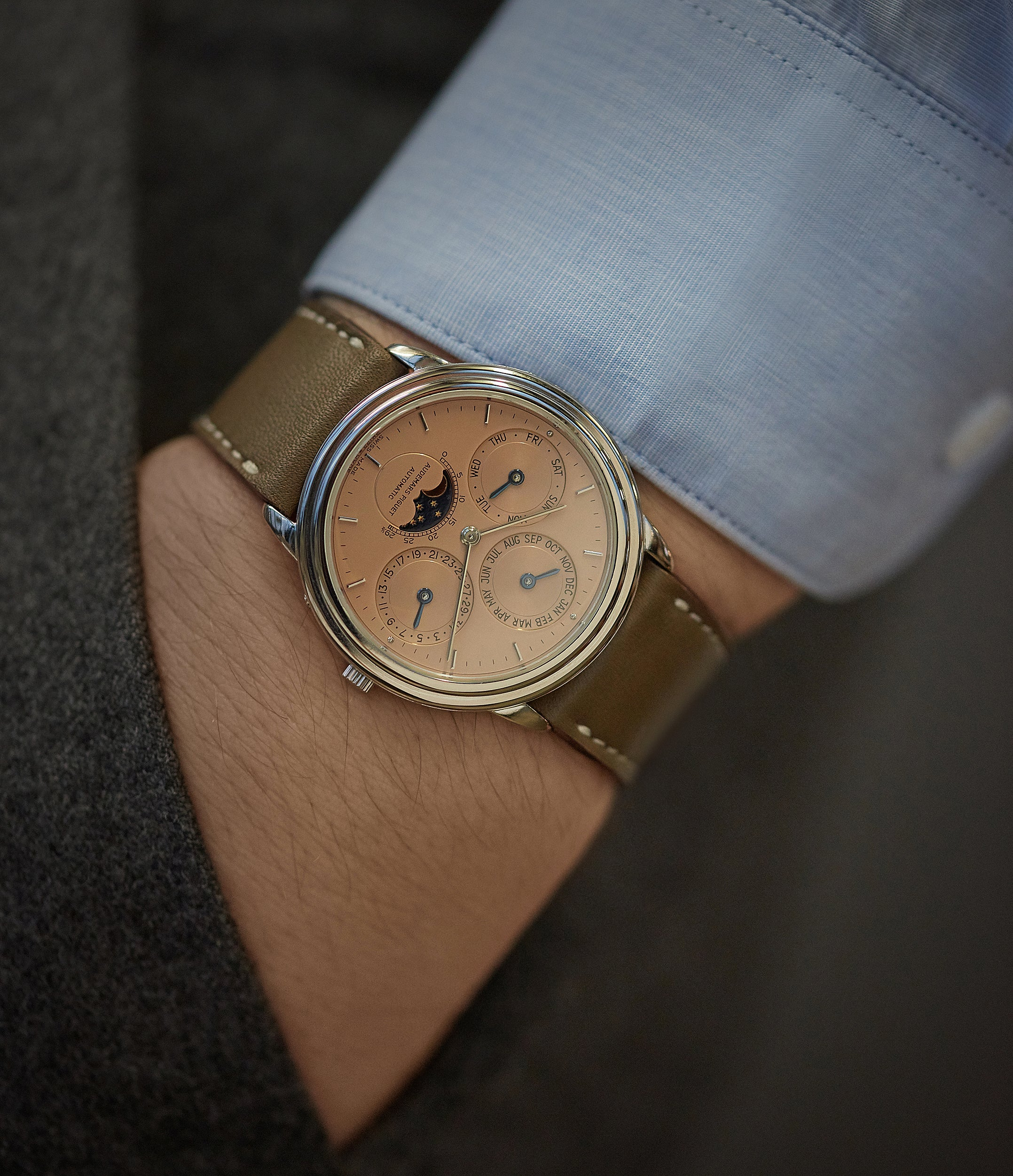 taupe brown leather watch strap Vienna JPM 18mm order online at A Collected Man London