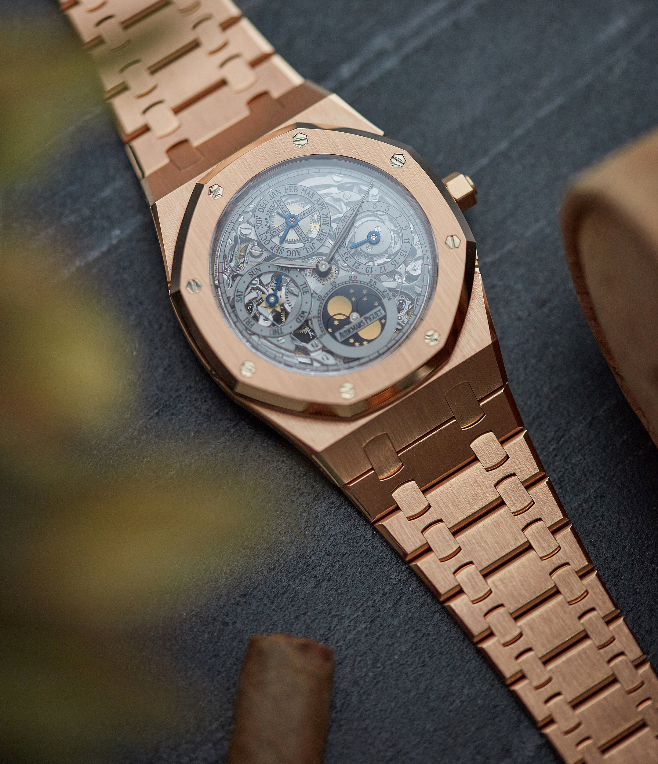 selling Audemars Piguet Royal Oak 25829OR Quantieme Perpetual Calendar rose gold skeletonised pre-owned sport watch for sale online at A Collected Man London UK specialist of rare watches
