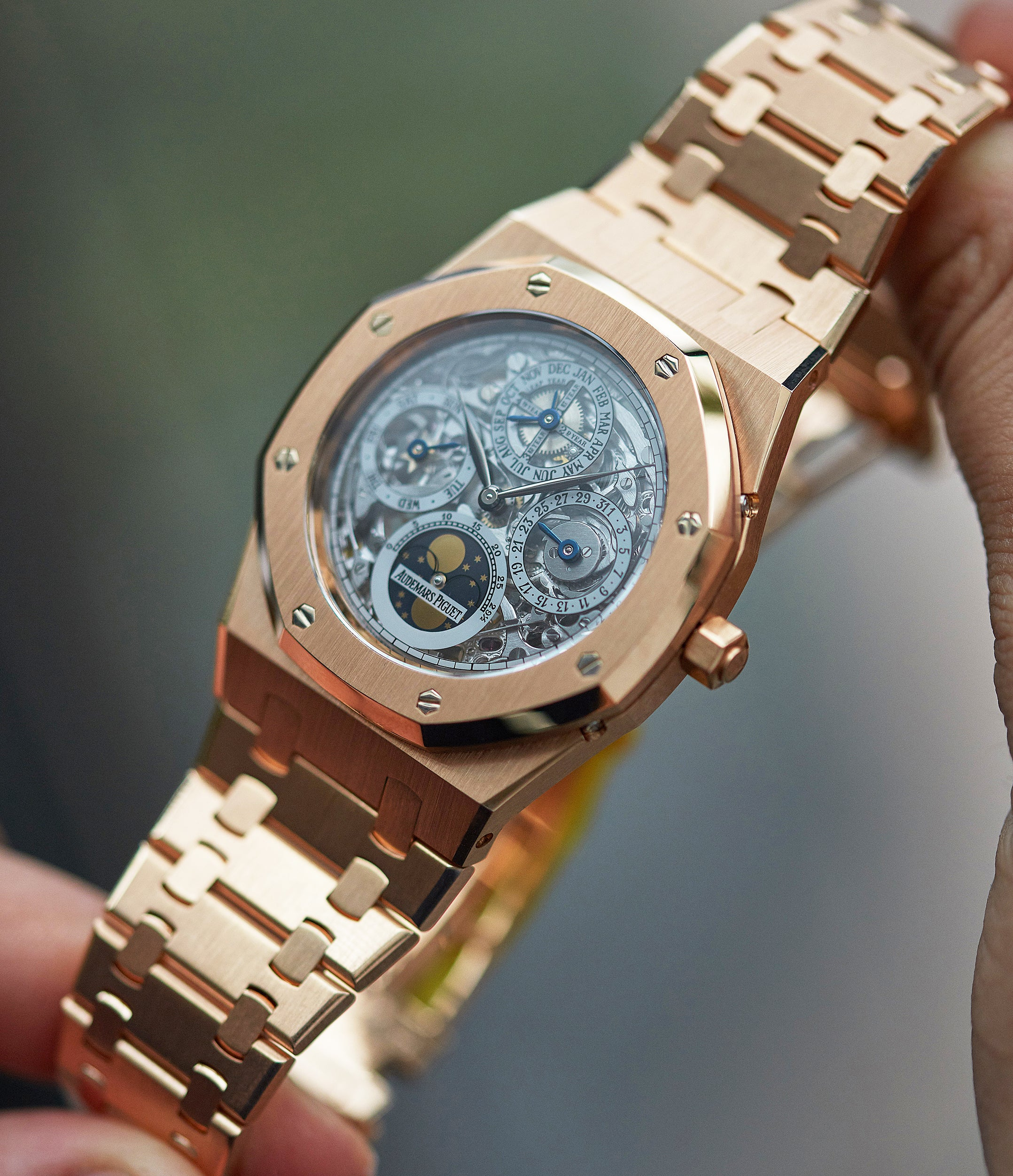 pre-owned Audemars Piguet Royal Oak Quantieme Perpetual Calendar 25829OR rose gold skeletonised sport watch for sale online at A Collected Man London UK specialist of rare watches