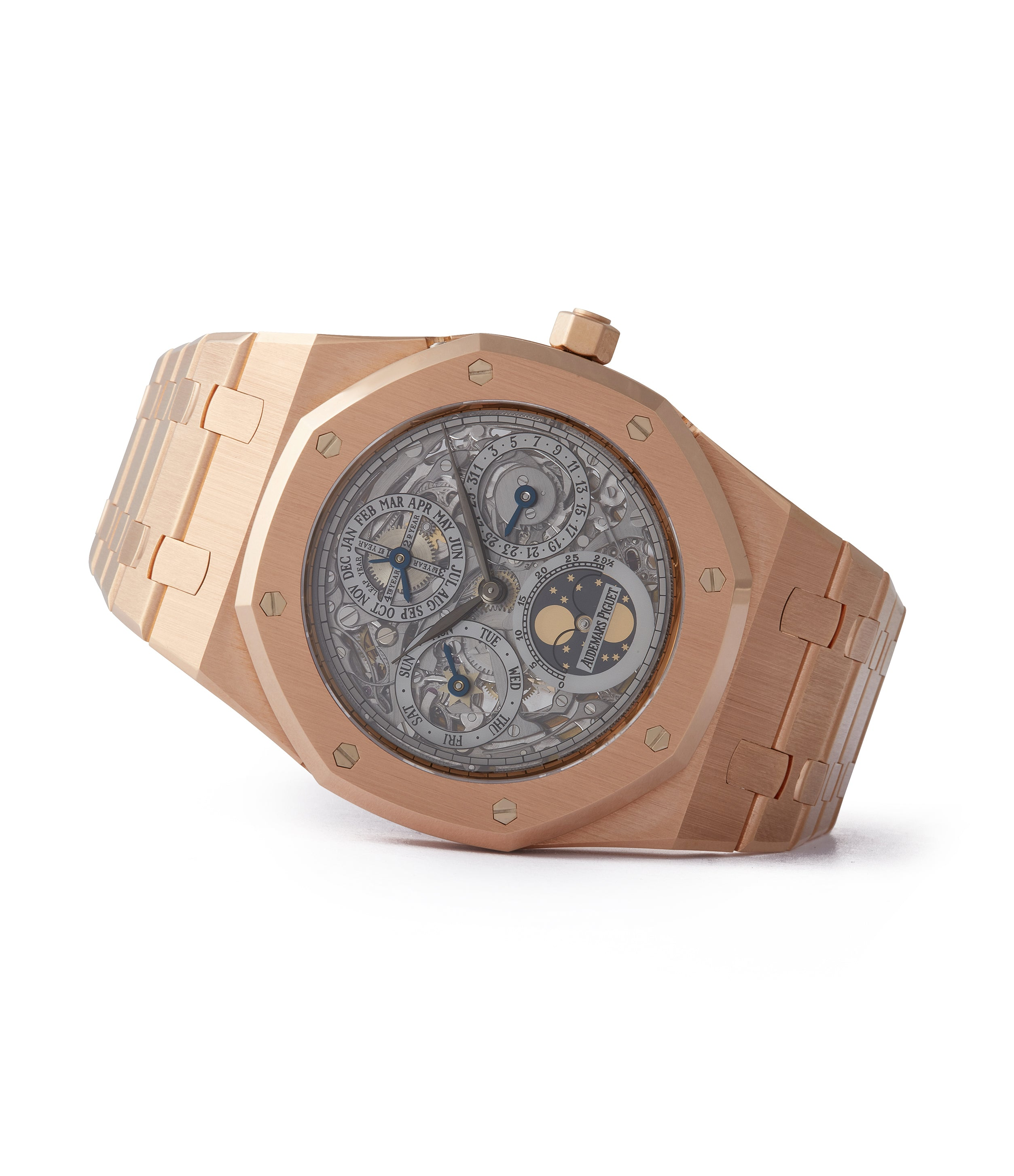 side-shot Royal Oak Audemars Piguet Quantieme Perpetual Calendar 25829OR rose gold skeletonised pre-owned sport watch for sale online at A Collected Man London UK specialist of rare watches