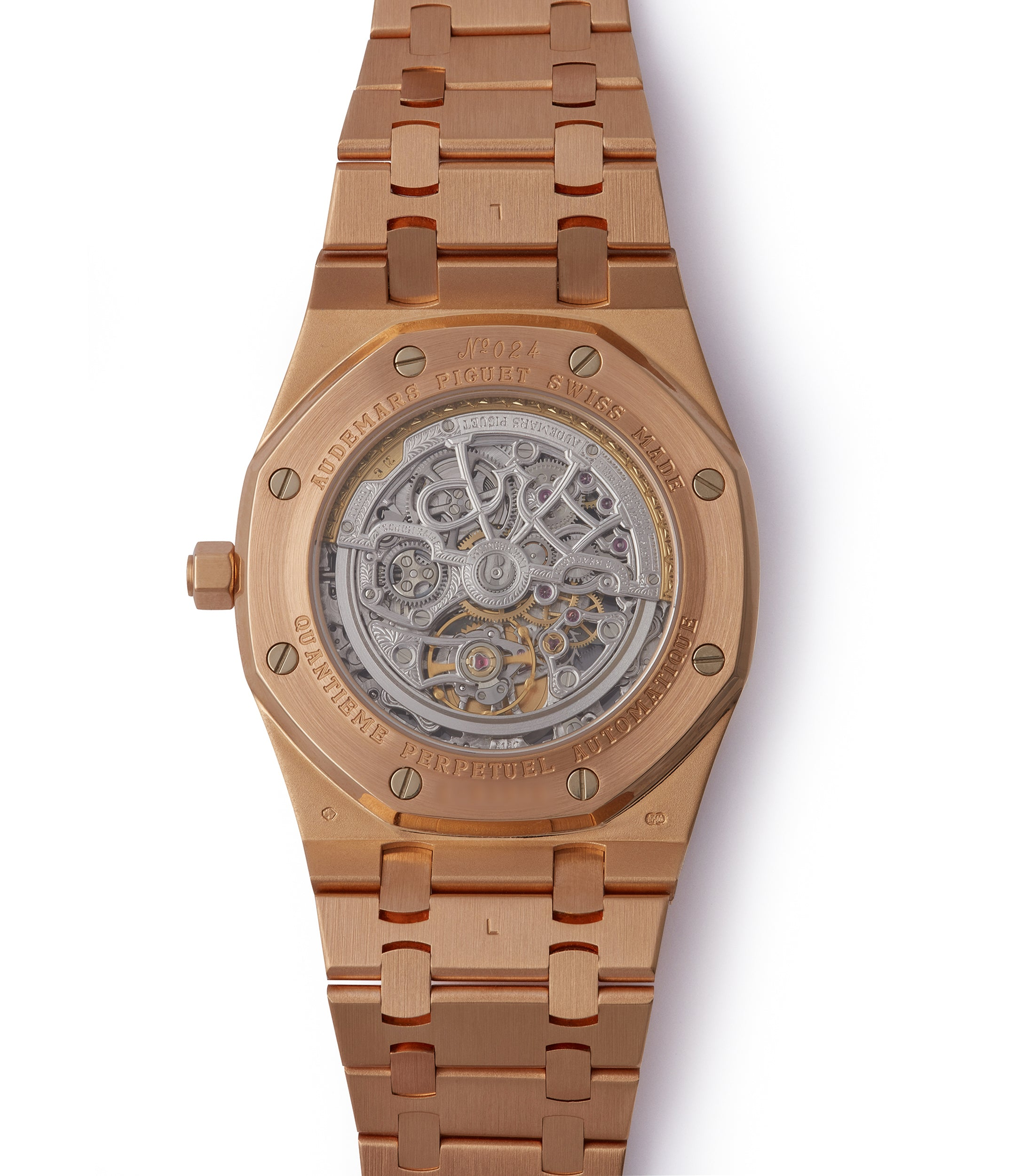 automatic Audemars Piguet Royal Oak Quantieme Perpetual Calendar 25829OR rose gold skeletonised pre-owned sport watch for sale online at A Collected Man London UK specialist of rare watches