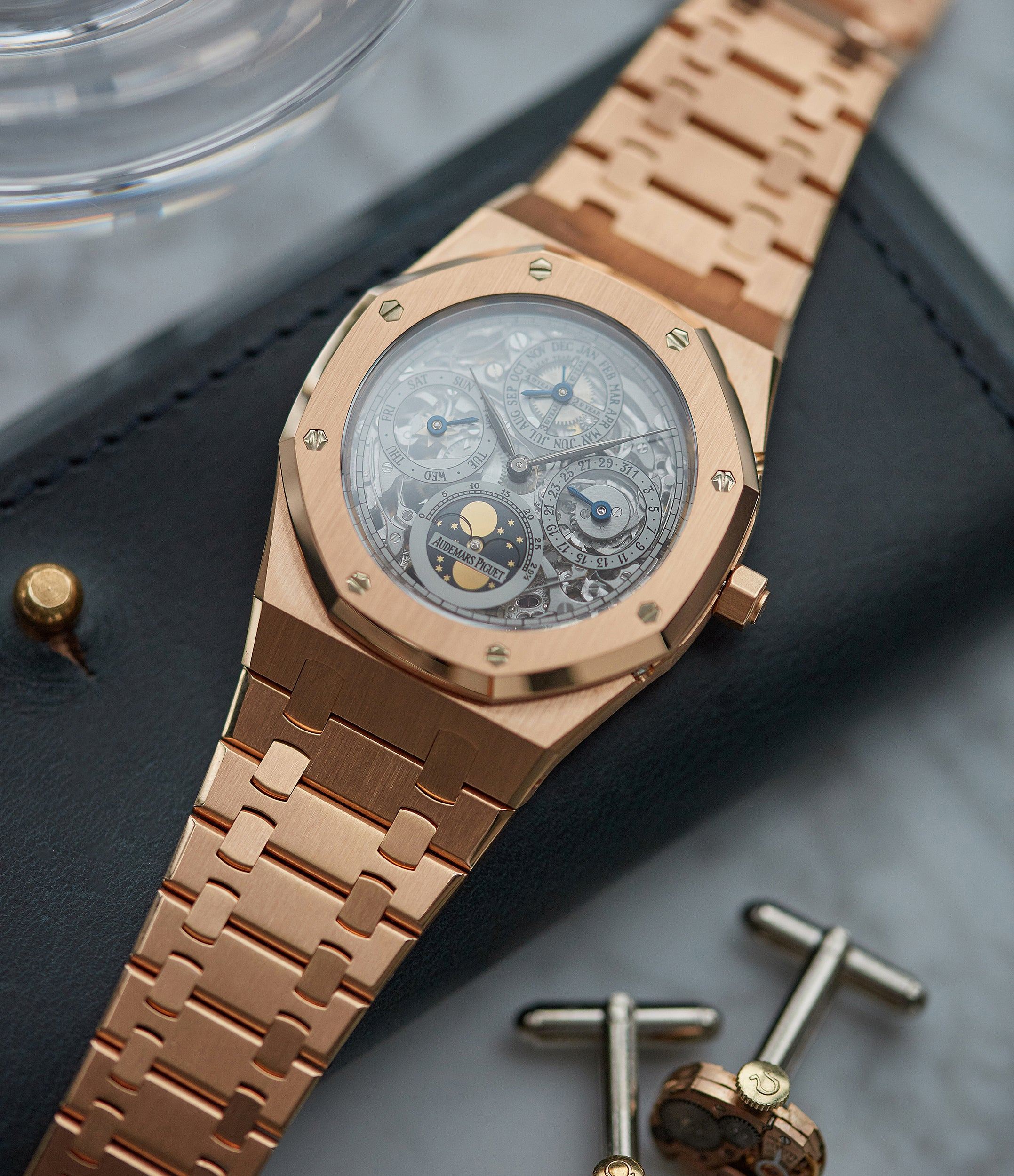 for sale Audemars Piguet Royal Oak 25829OR Quantieme Perpetual Calendar rose gold skeletonised pre-owned sport watch for sale online at A Collected Man London UK specialist of rare watches