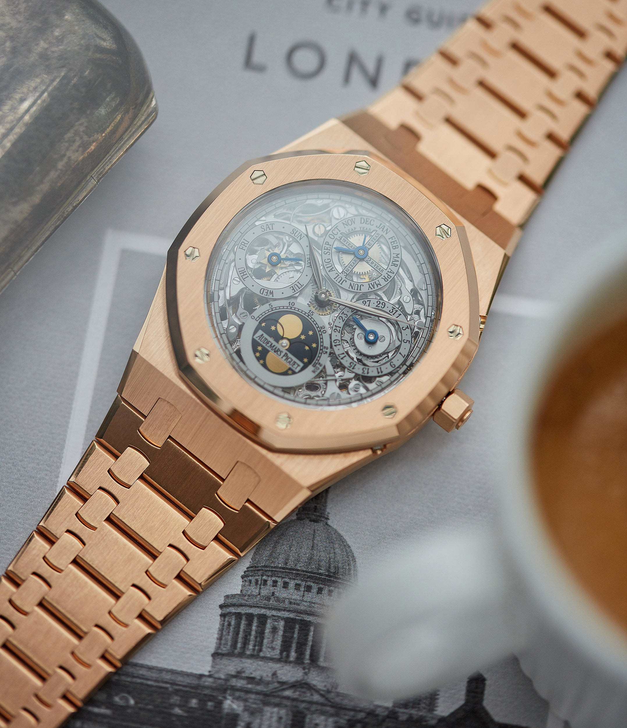 rare Audemars Piguet Royal Oak Quantieme Perpetual Calendar 25829OR rose gold skeletonised pre-owned sport watch for sale online at A Collected Man London UK specialist of rare watches