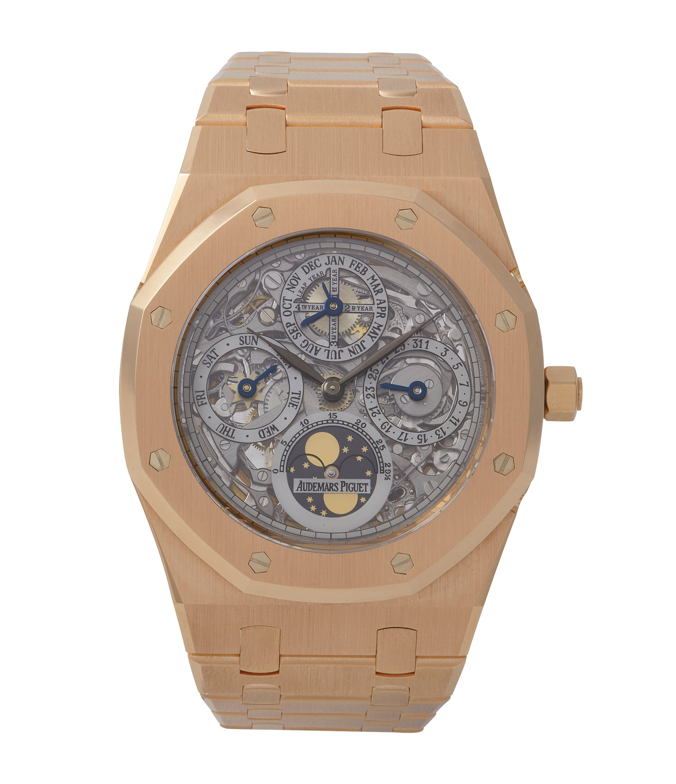 buy Audemars Piguet Royal Oak Quantieme Perpetual Calendar 25829OR rose gold skeletonised pre-owned sport watch for sale online at A Collected Man London UK specialist of rare watches