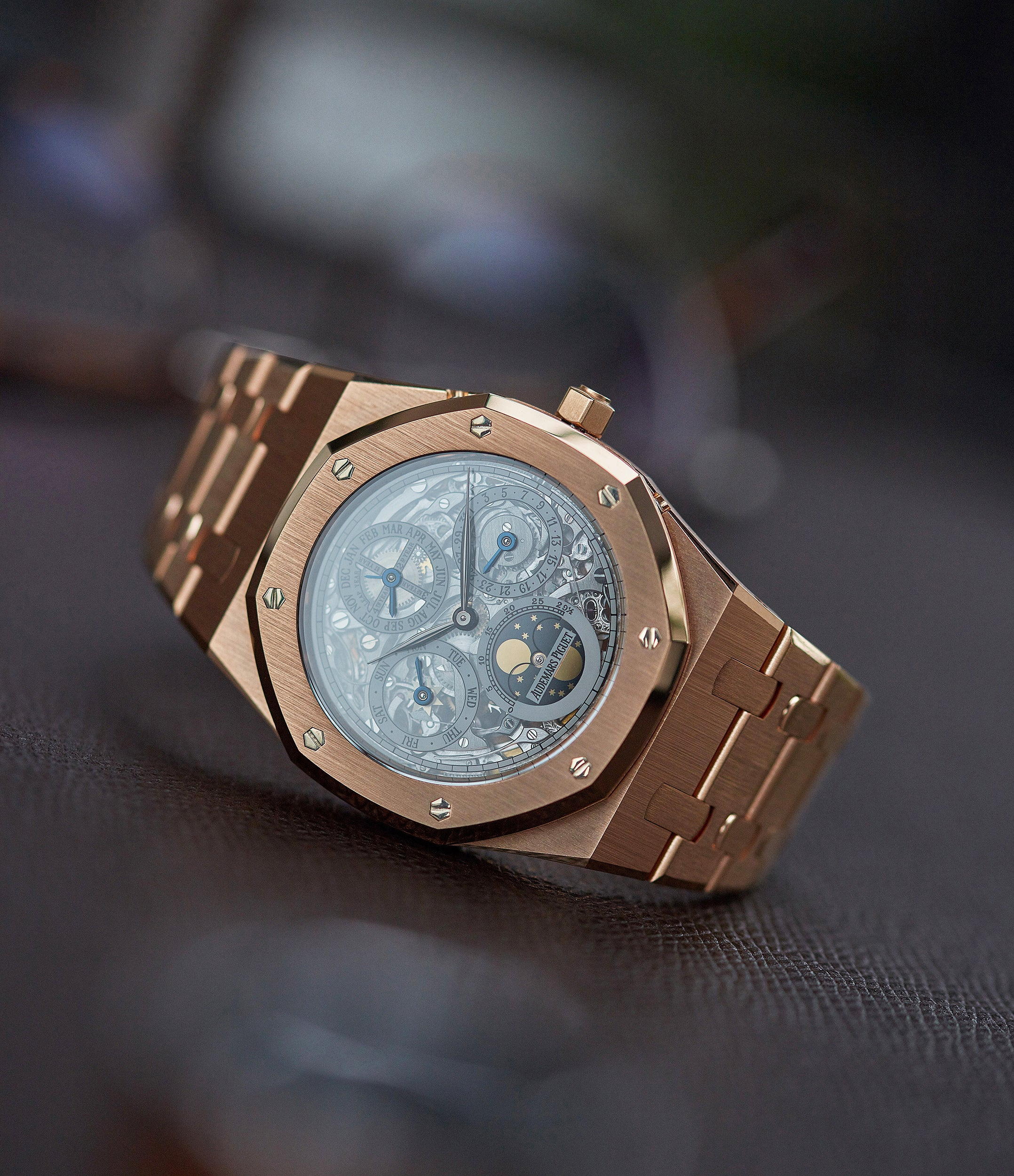 Quantieme Perpetual Calendar Audemars Piguet Royal Oak 25829OR rose gold skeletonised pre-owned sport watch for sale online at A Collected Man London UK specialist of rare watches
