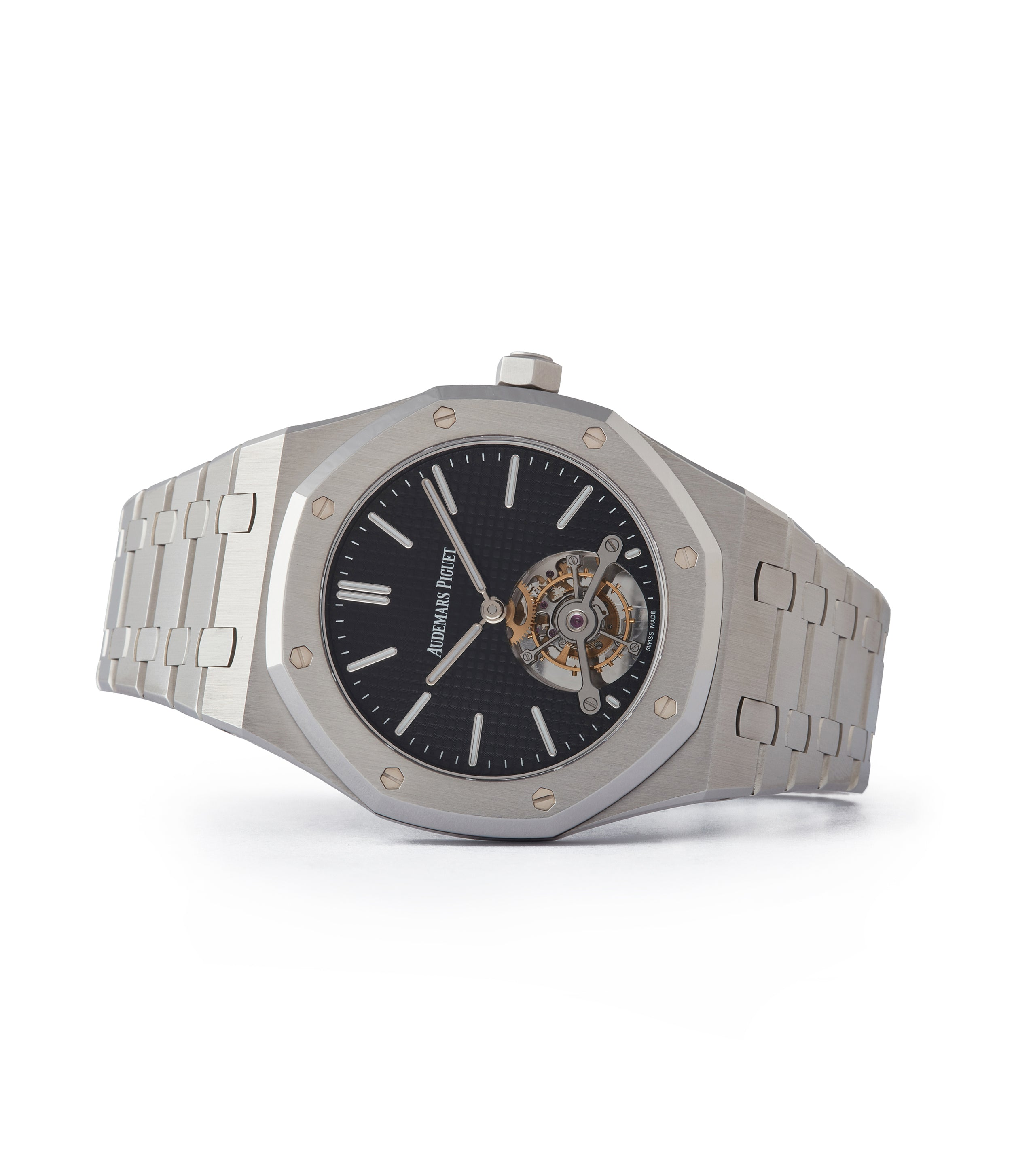 side-shot rare Audemars Piguet Royal Oak Tourbillon extra-slim Special Edition Japanese steel pre-owned watch for sale online at A Collected Man London UK specialist of rare watches