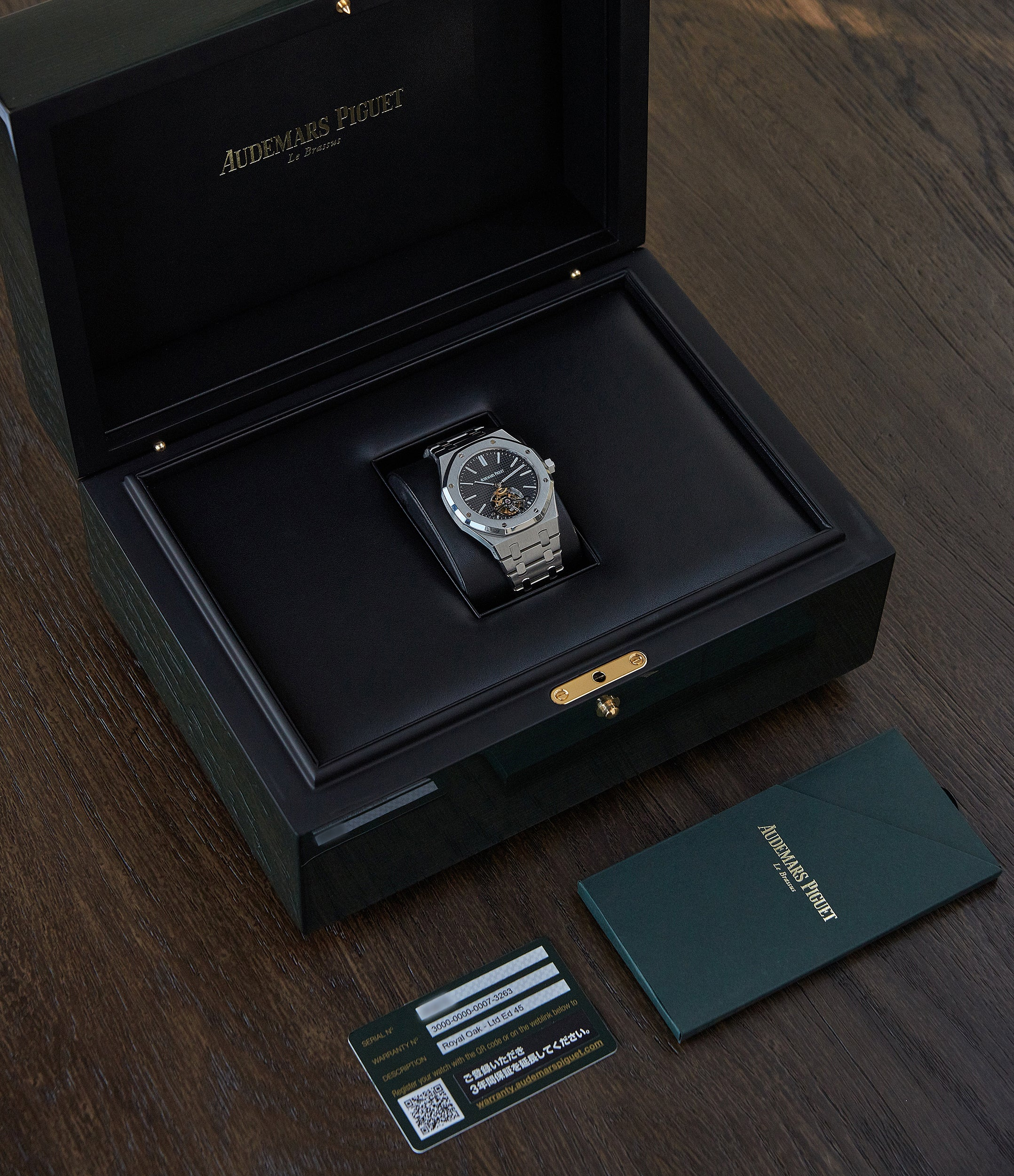 Full set Audemars Piguet Royal Oak Tourbillon extra-slim Special Edition Japanese steel pre-owned watch for sale online at A Collected Man London UK specialist of rare watches