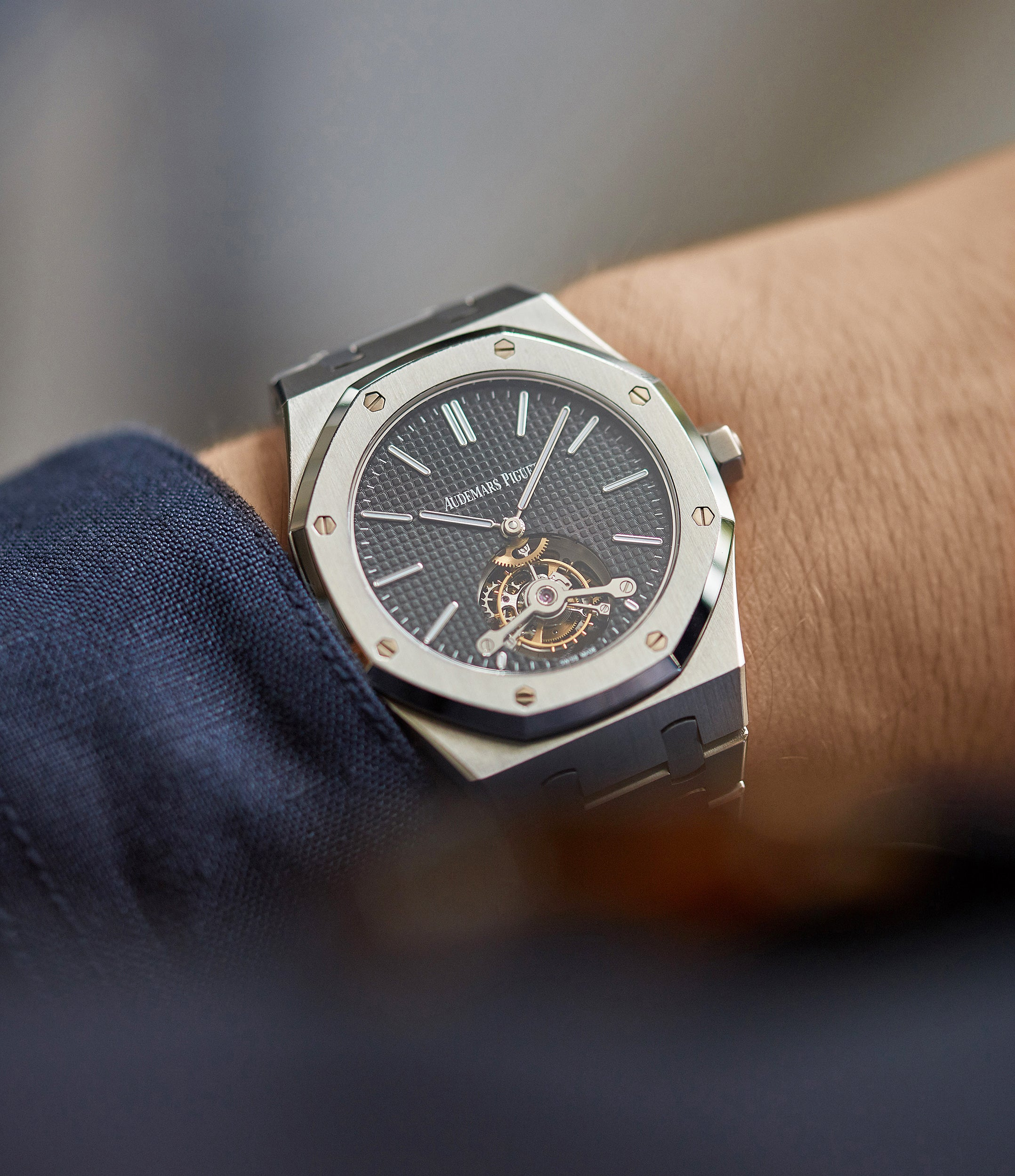 on the wrist Audemars Piguet Royal Oak Tourbillon extra-slim Special Edition Japanese steel pre-owned watch for sale online at A Collected Man London UK specialist of rare watches