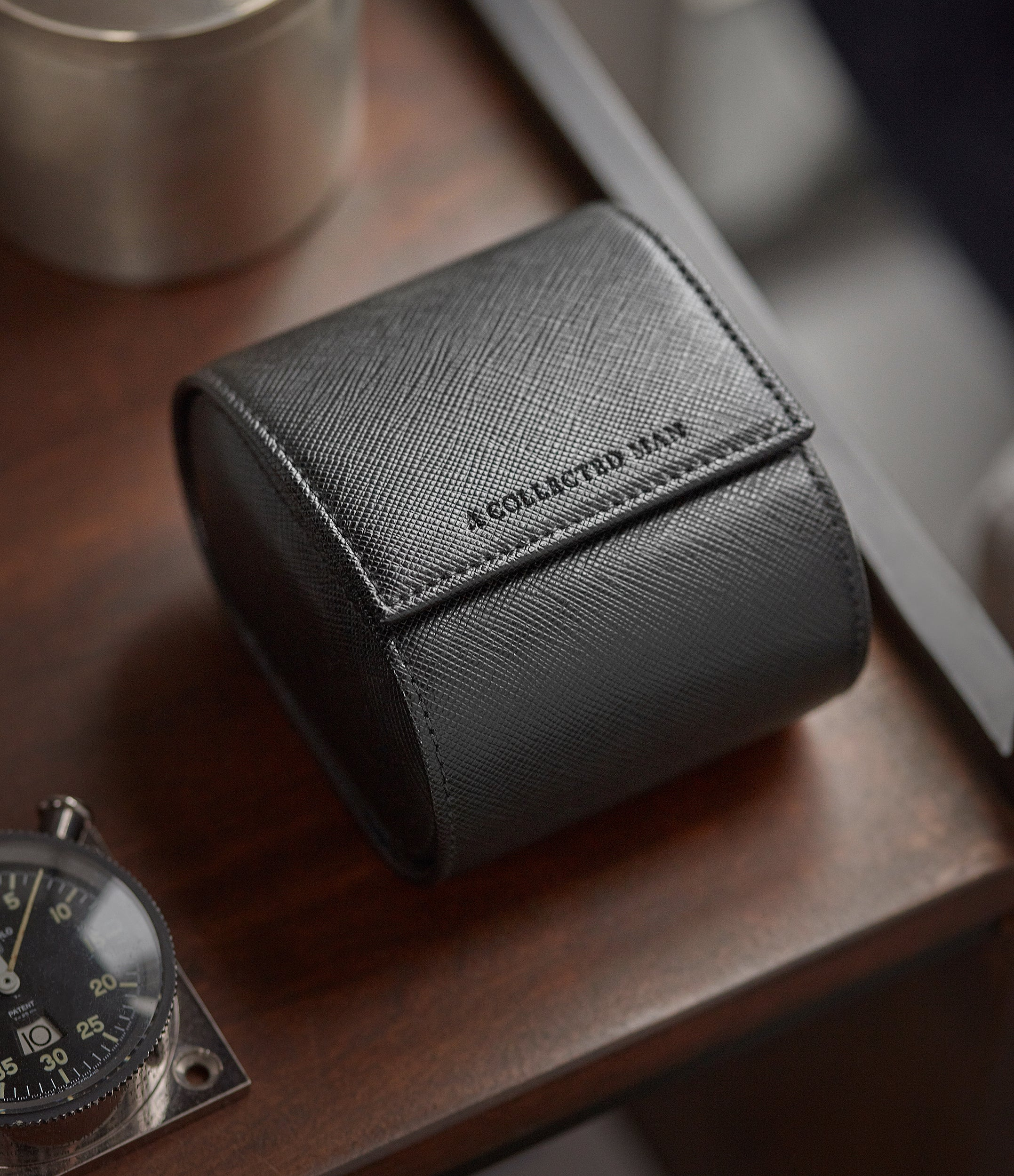 classic modern gentlemen's with holder black Saffiano one-watch single watch roll leather holder box Milano travel case order online A Collected Man London