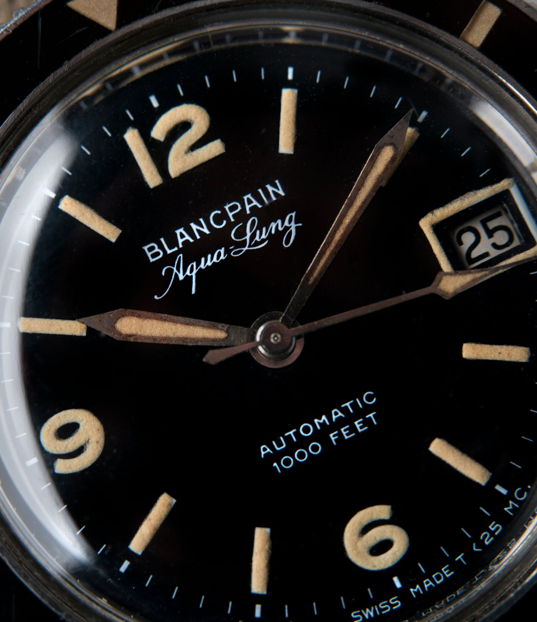 black unrestored dial Blancpain Aqua Lung Gloss Dial Cal. AS 1700/01 vintage sport watch black dial for sale online at A Collected Man London UK specialist rare, vintage watches