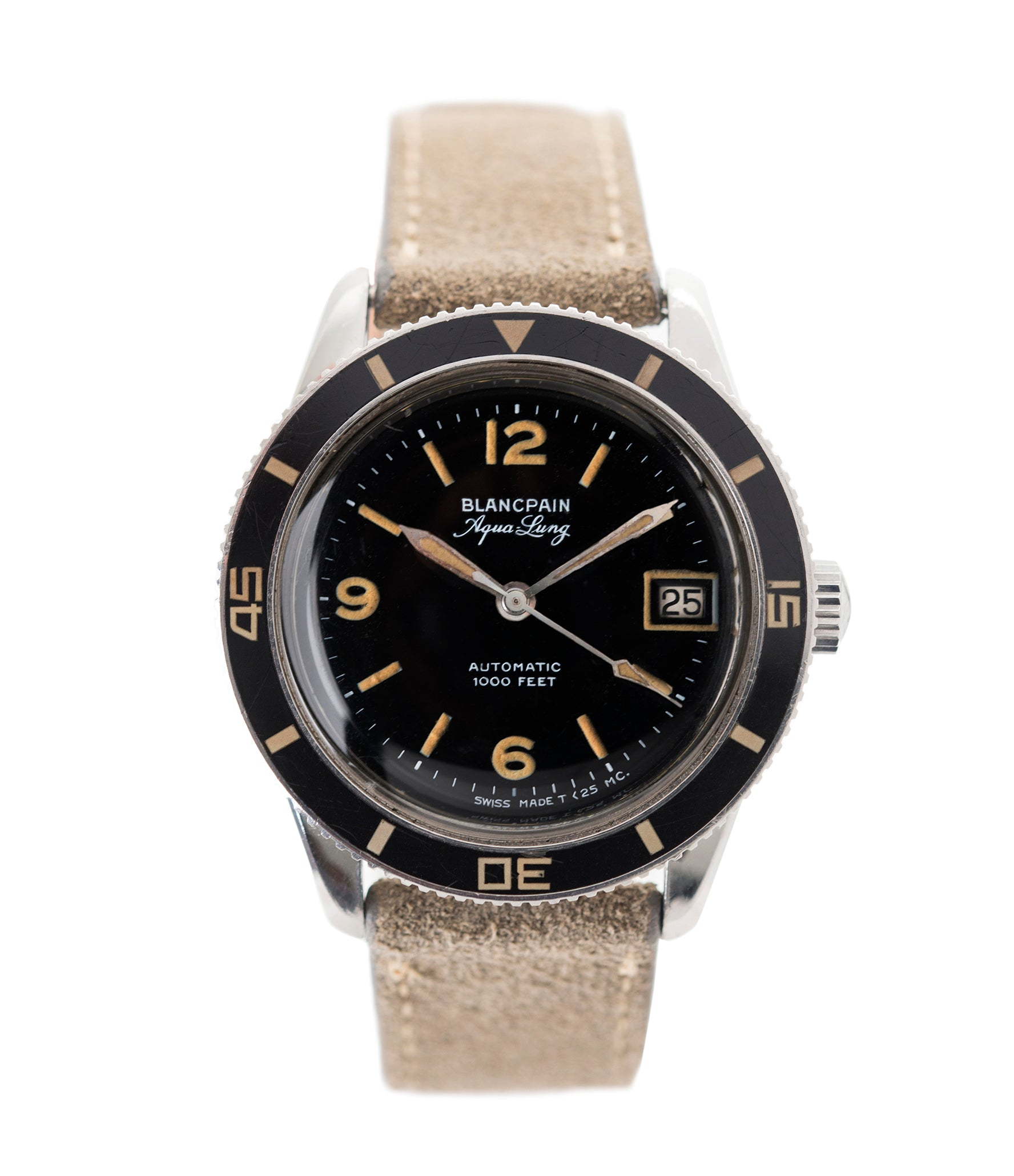 buy Blancpain Fifty Fathoms Aqua Lung Gloss Dial Bakelite bezel Cal. AS 1700/01 vintage sport watch black dial for sale online at A Collected Man London UK specialist rare, vintage watches