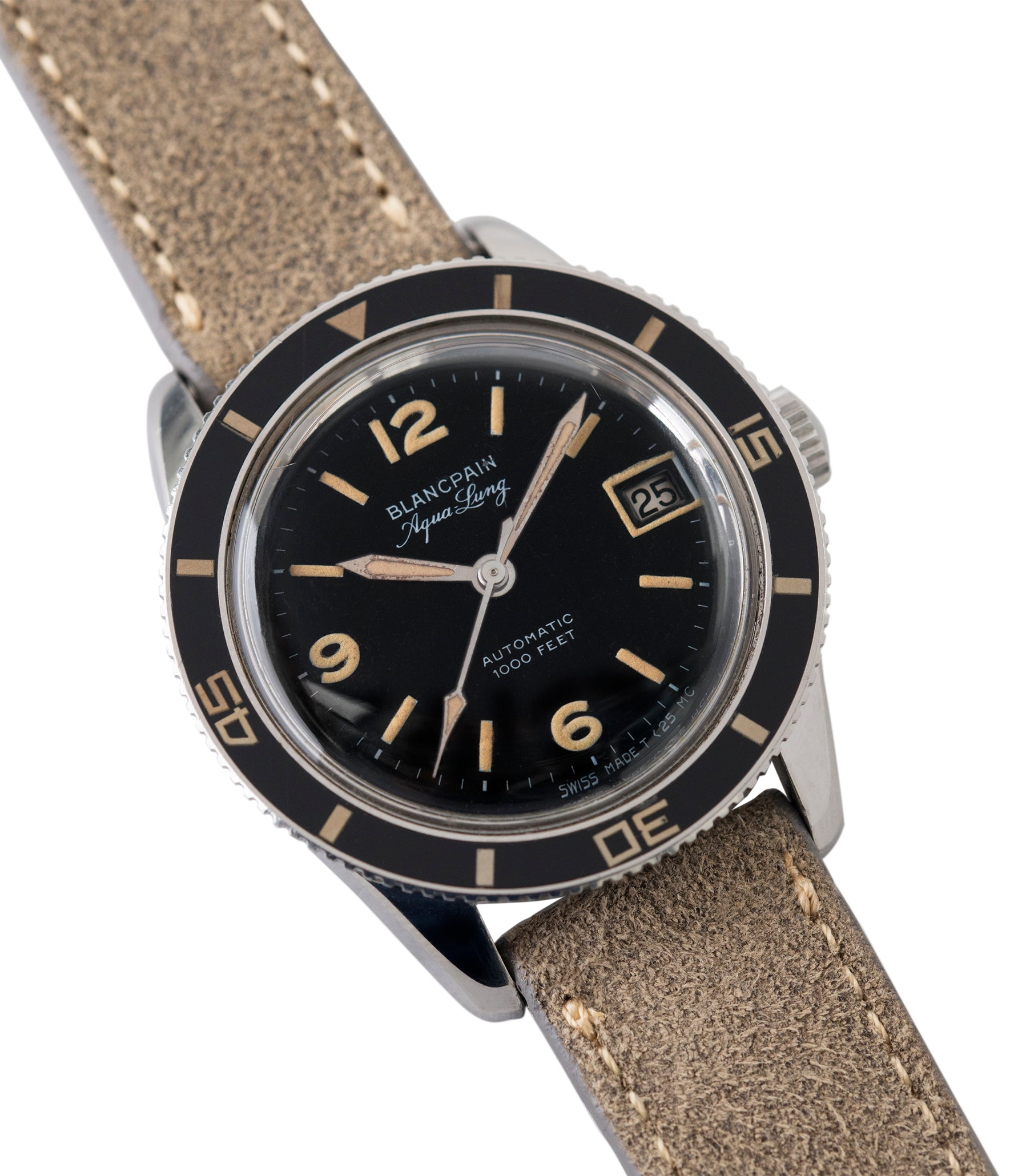 shop Blancpain Aqua Lung Gloss Dial Bakelite bezel Cal. AS 1700/01 vintage sport watch black dial for sale online at A Collected Man London UK specialist rare, vintage watches
