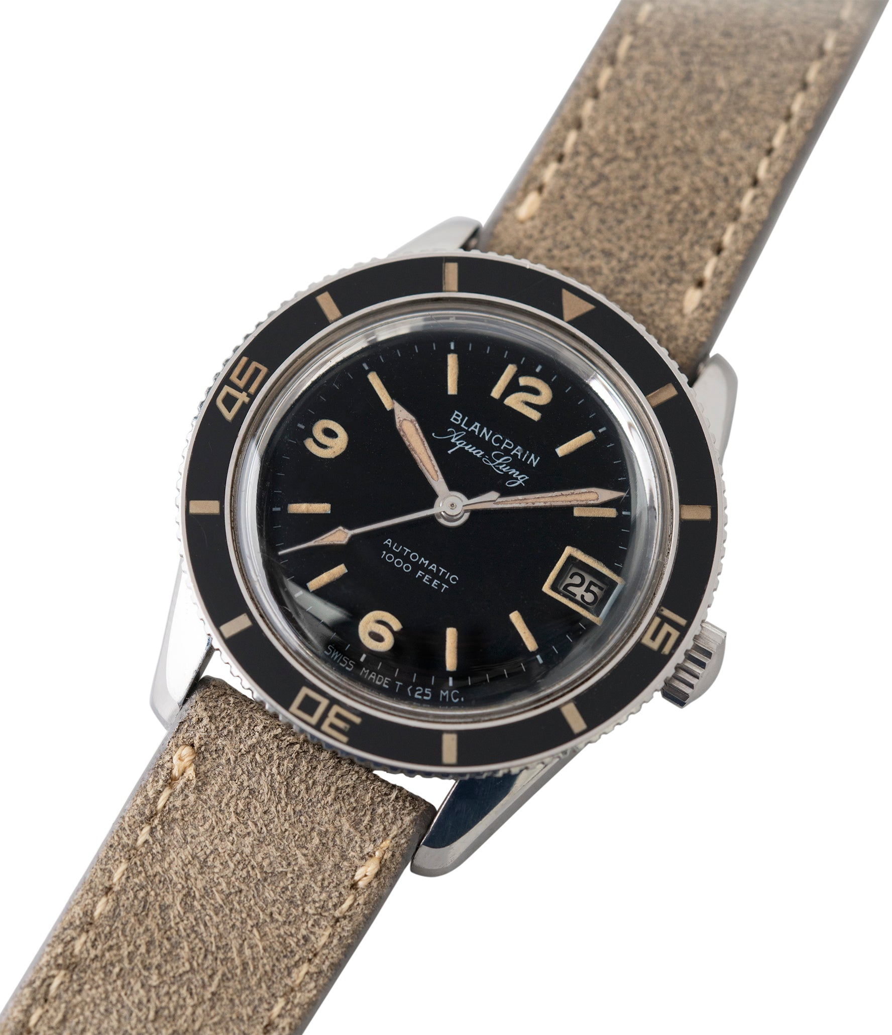 vintage Blancpain Aqua Lung Gloss Dial Bakelite bezel Cal. AS 1700/01 sport watch black dial for sale online at A Collected Man London UK specialist rare, vintage watches