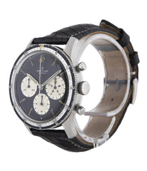 "Breitling Co-Pilot Chronograph ""Jean-Claude Killy"" 765 CP stainless steel manual-winding Cal. Venus 178 vintage authentic pre-owned rare, sport luxury watch from 1965 with black dial and black padded crocodile with white stitching strap with chronograph, hours, minutes, sub-seconds"