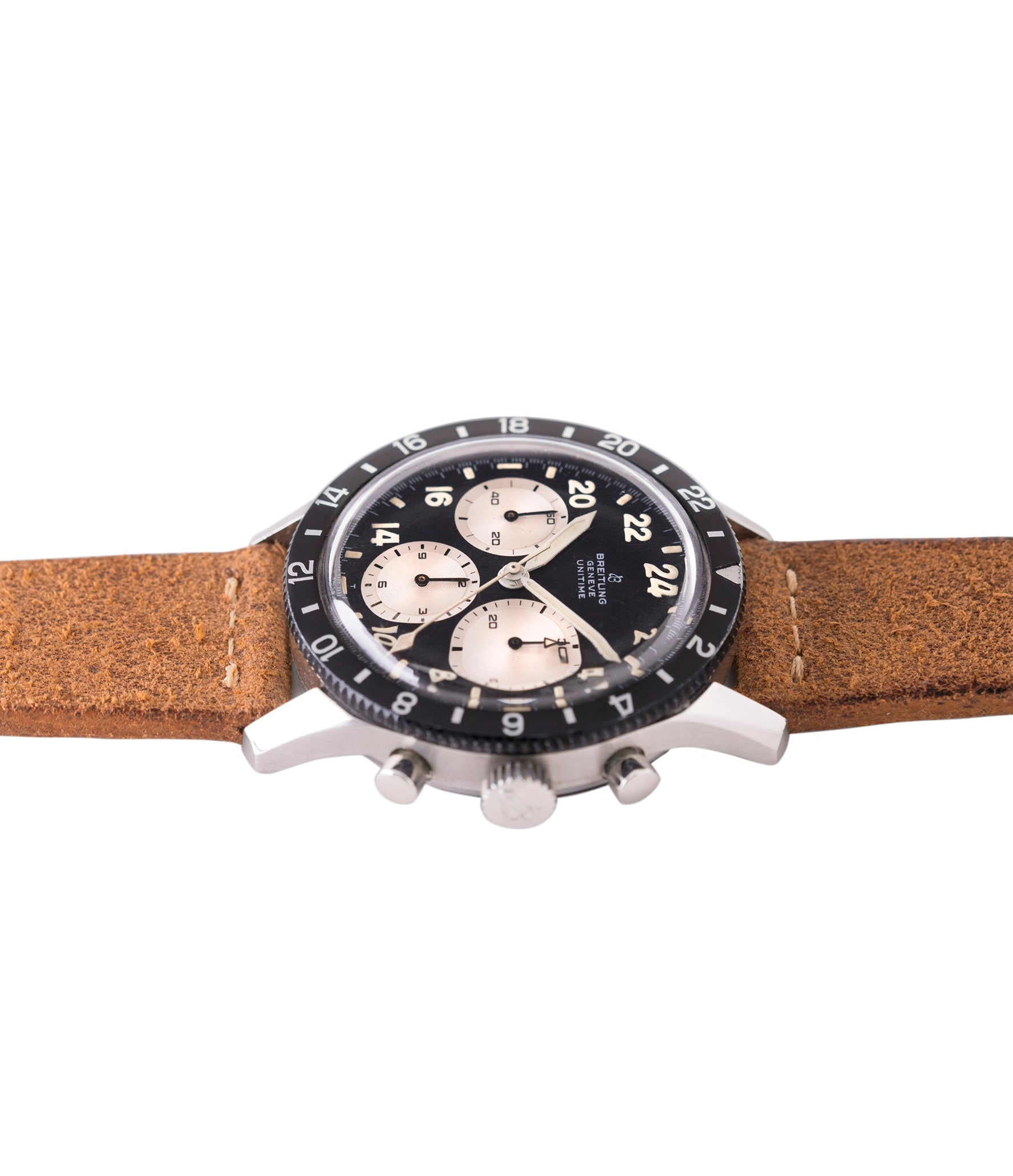 Breitling chronograph 1765 Unitime steel vintage Cal. 178 pilot watch for sale online at A Collected Man London UK specialist of rare watches
