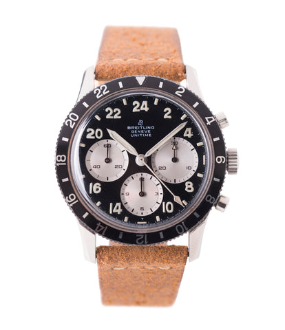 buy vintage Breitling Unitime 1765 steel chronograph Cal. 178 pilot watch for sale online at A Collected Man London UK specialist of rare watches