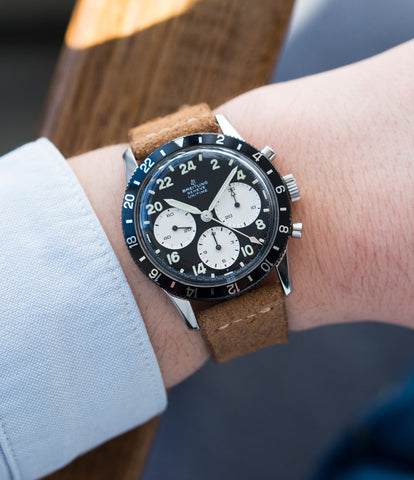on the wrist Breitling Unitime 1765 steel chronograph Cal. 178 pilot watch for sale online at A Collected Man London UK specialist of rare watches