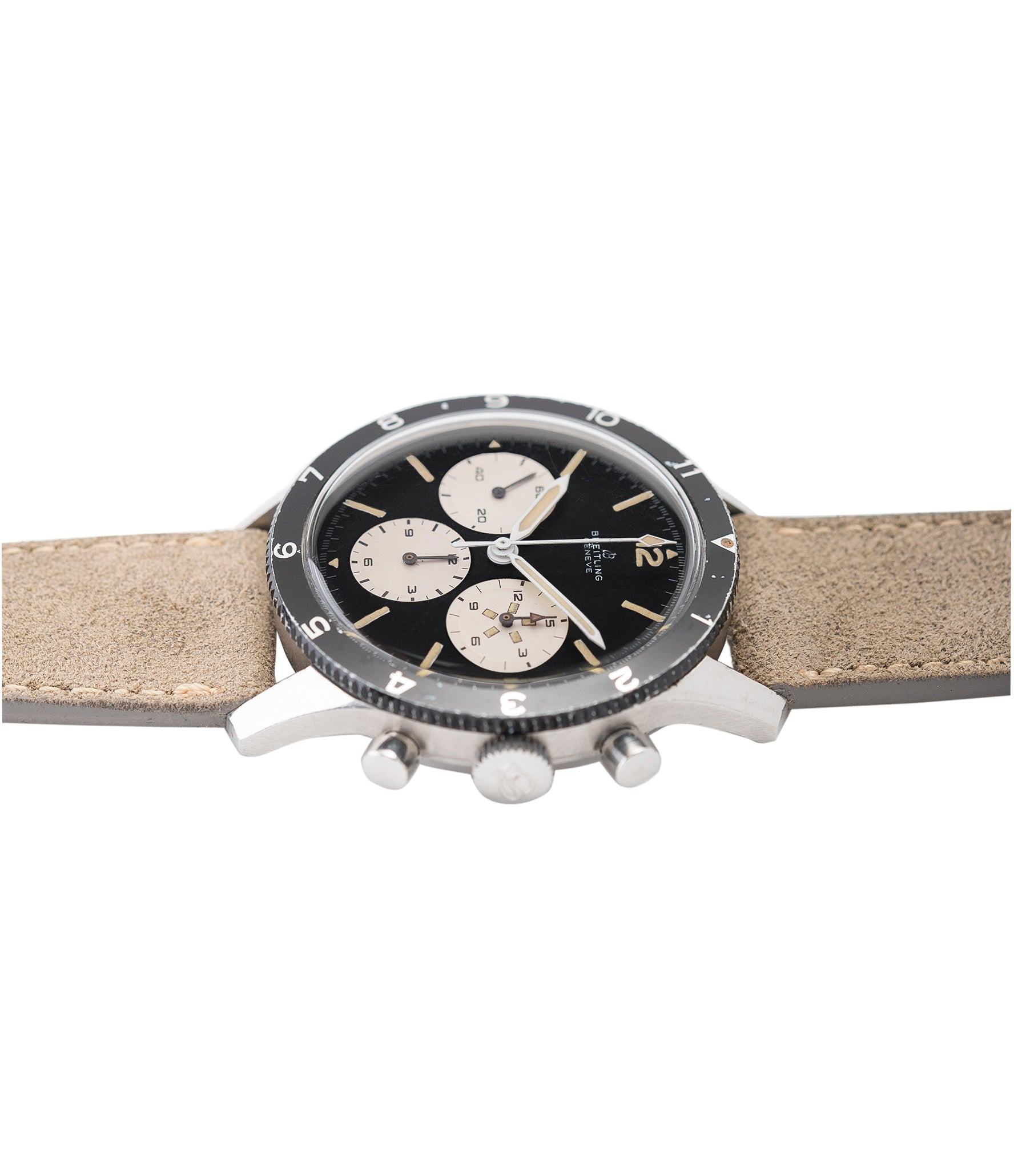 buying Breitling 765 AVI pilot steel vintage chronograph watch online at A Collected Man London UK specialist of rare vintage watches